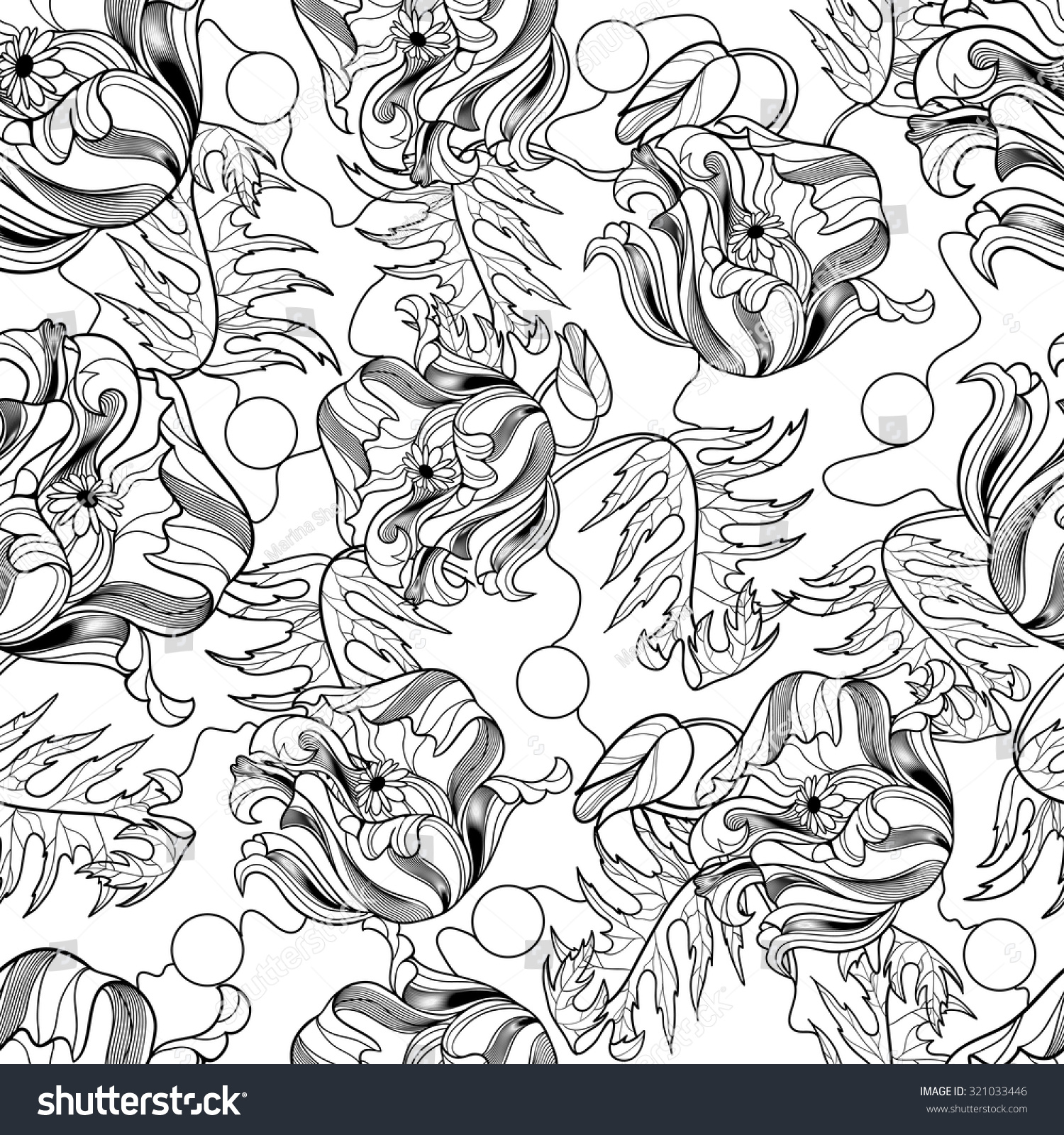 Unique Coloring Book Square Page Adults Stock Vector 321033446 ...