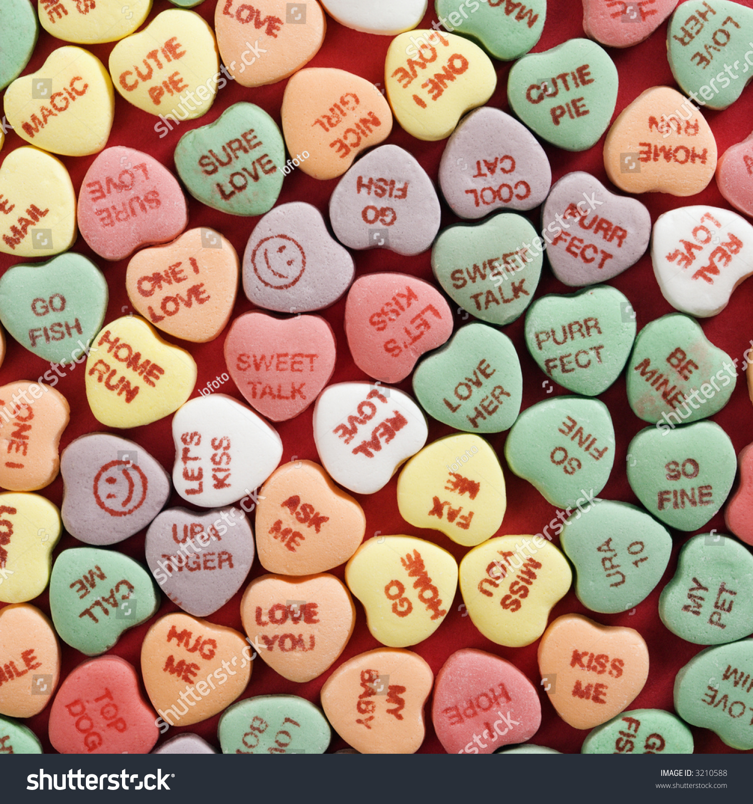 Candy Anniversary Sayings Stock Photo Large Group Of Colorful Candy Hearts
