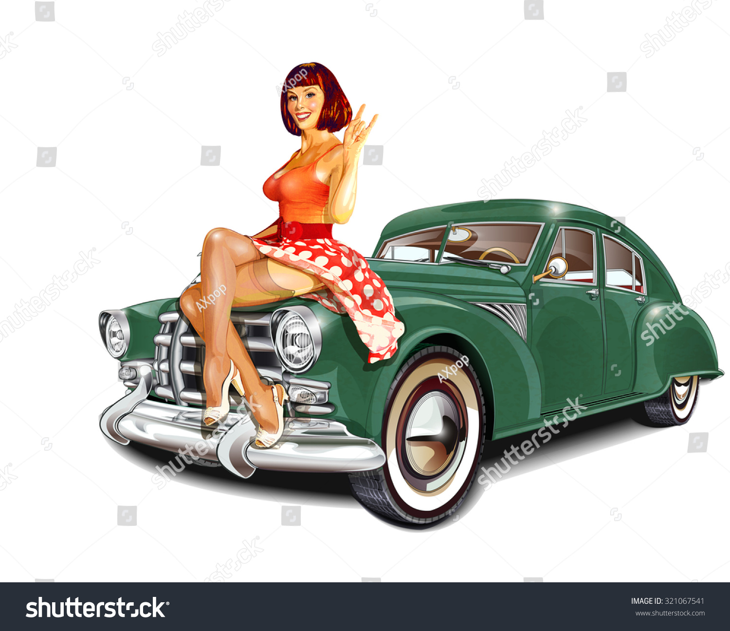 Car Garage For Rent >> Royalty-free Pin-up girl and retro car isolated on ...
