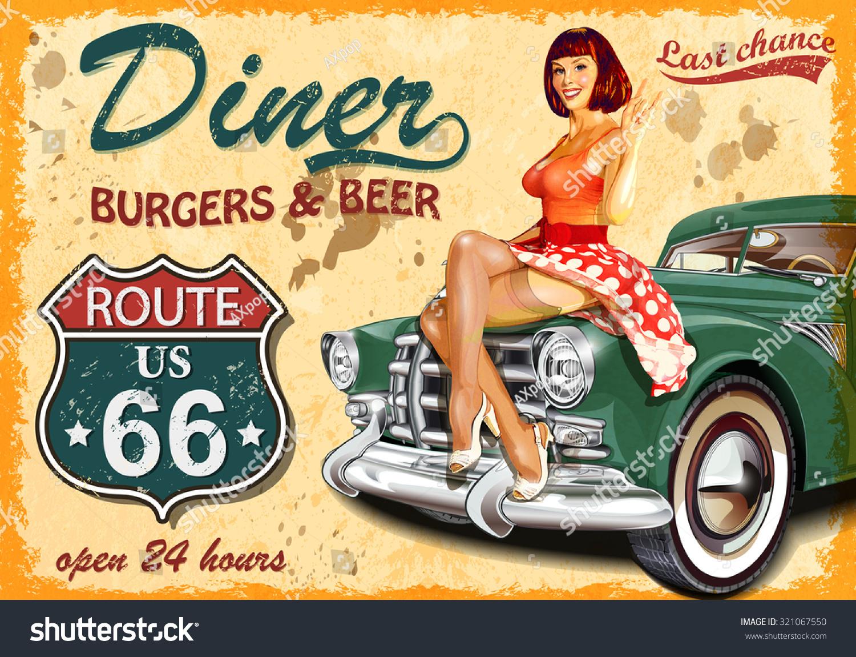 diner route 66 vintage poster stock vector 321067550 shutterstock. Black Bedroom Furniture Sets. Home Design Ideas