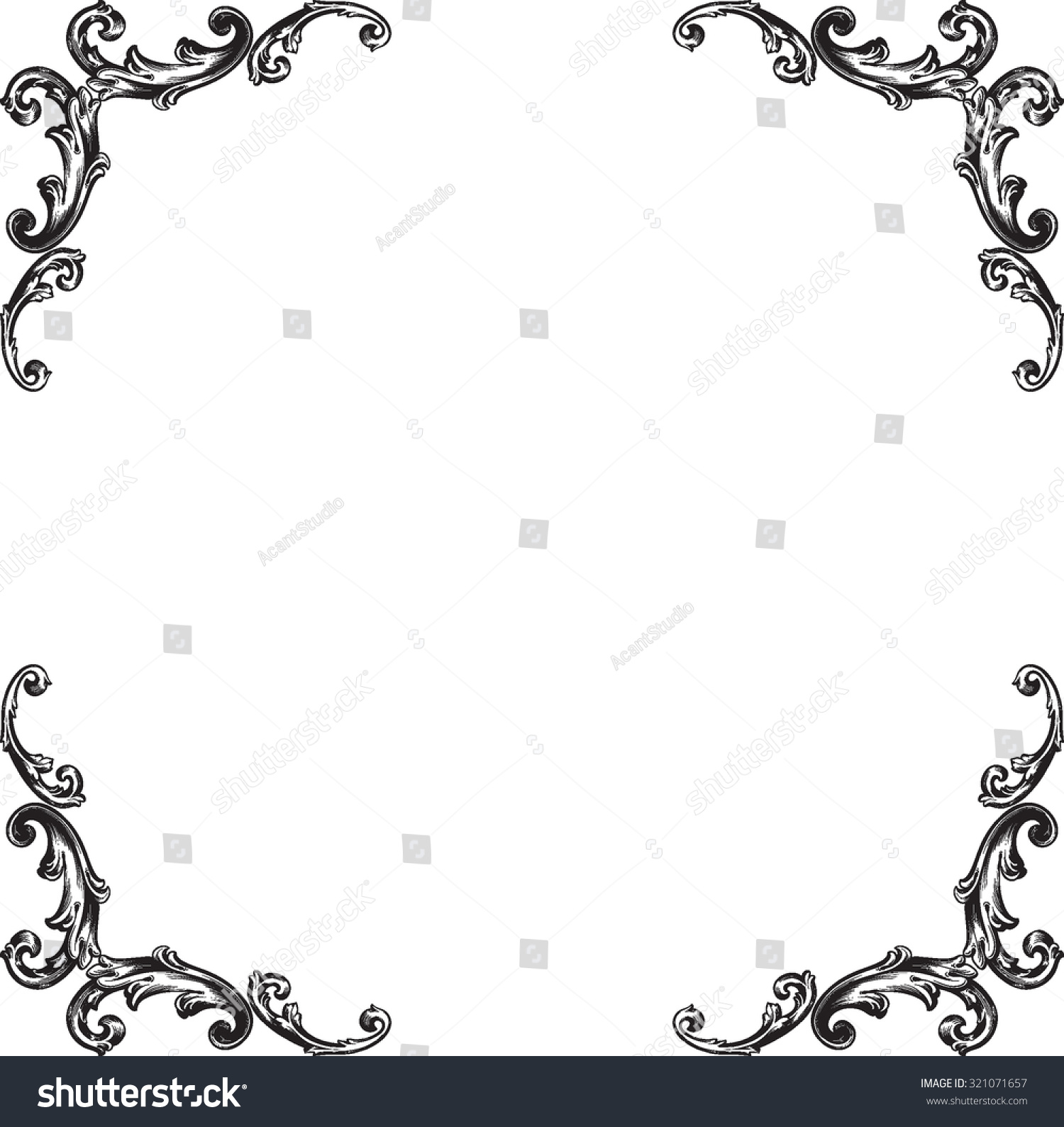 Decorative Black Flower Border Stock Image: Decorative Vintage Borders Frames Page Decoration Stock