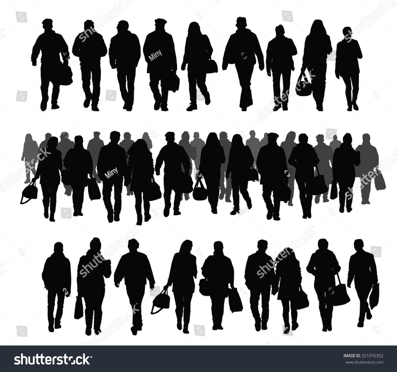 Silhouette Of People Walking On Street: Silhouettes People Walking On Street Crowd Stock Vector
