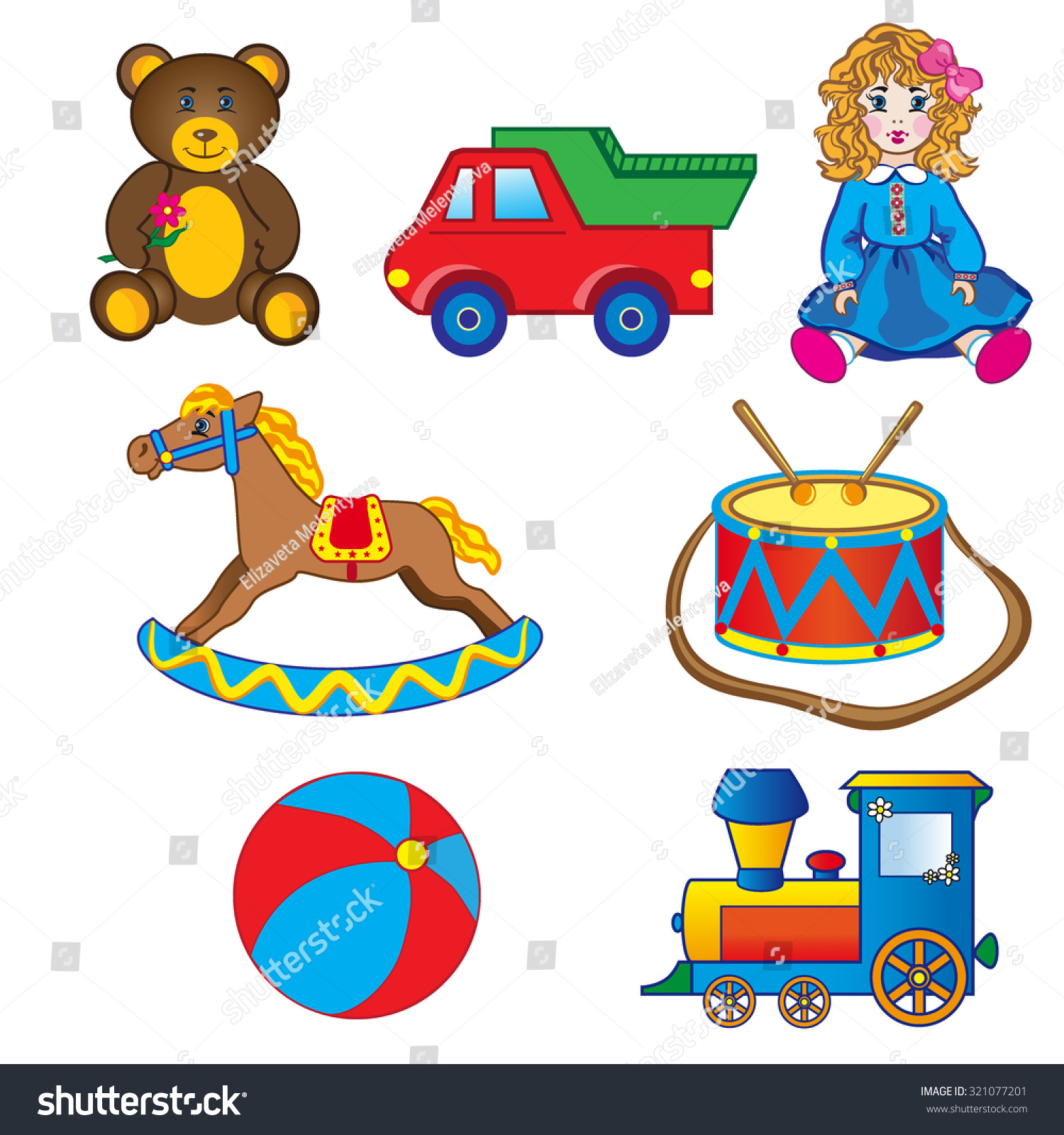 Baby Toys Drawing : Baby toy drawings car bear horse stock vector