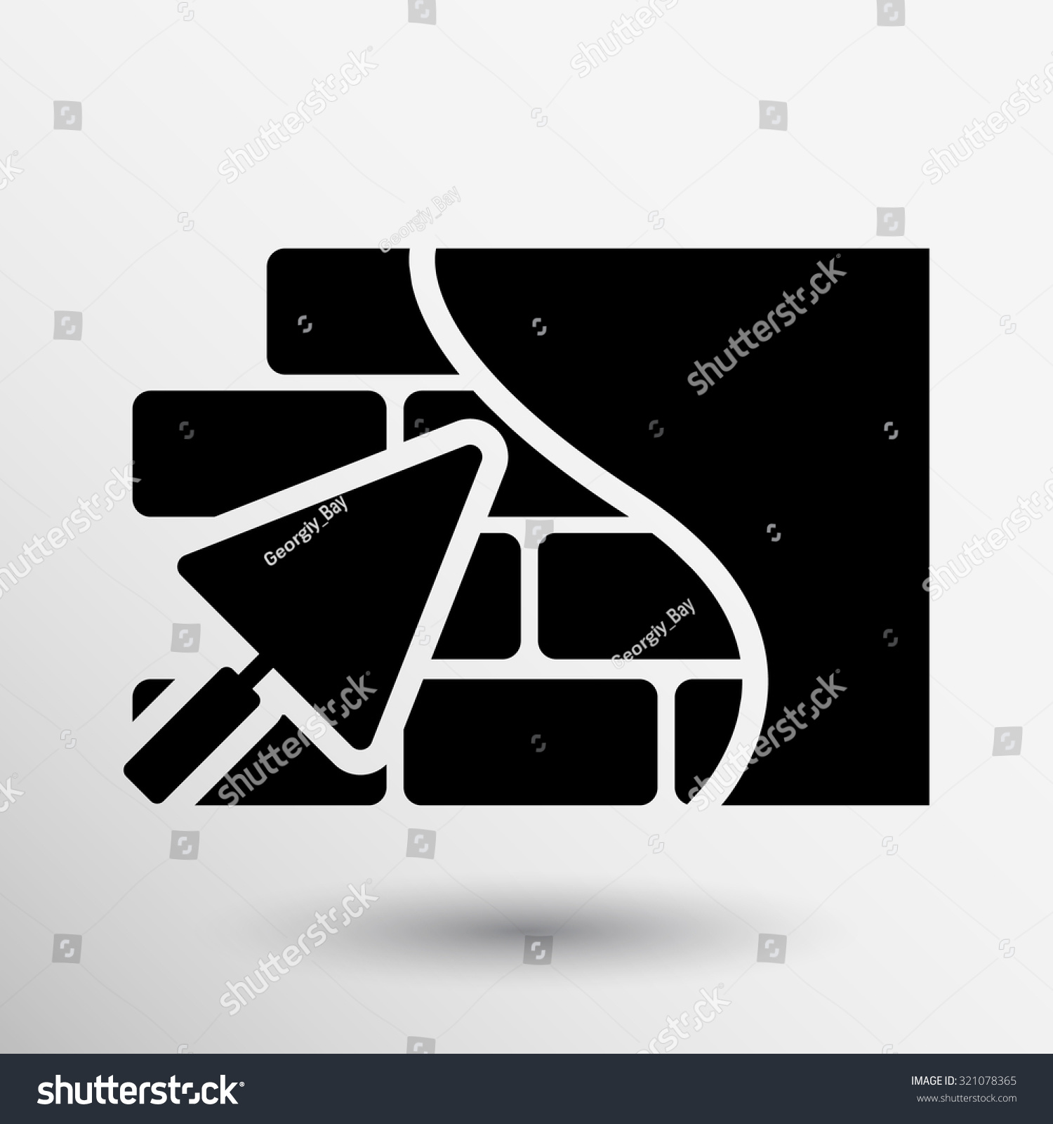 Masonry Trowel Logo : Brick wall icon trowel button stock vector