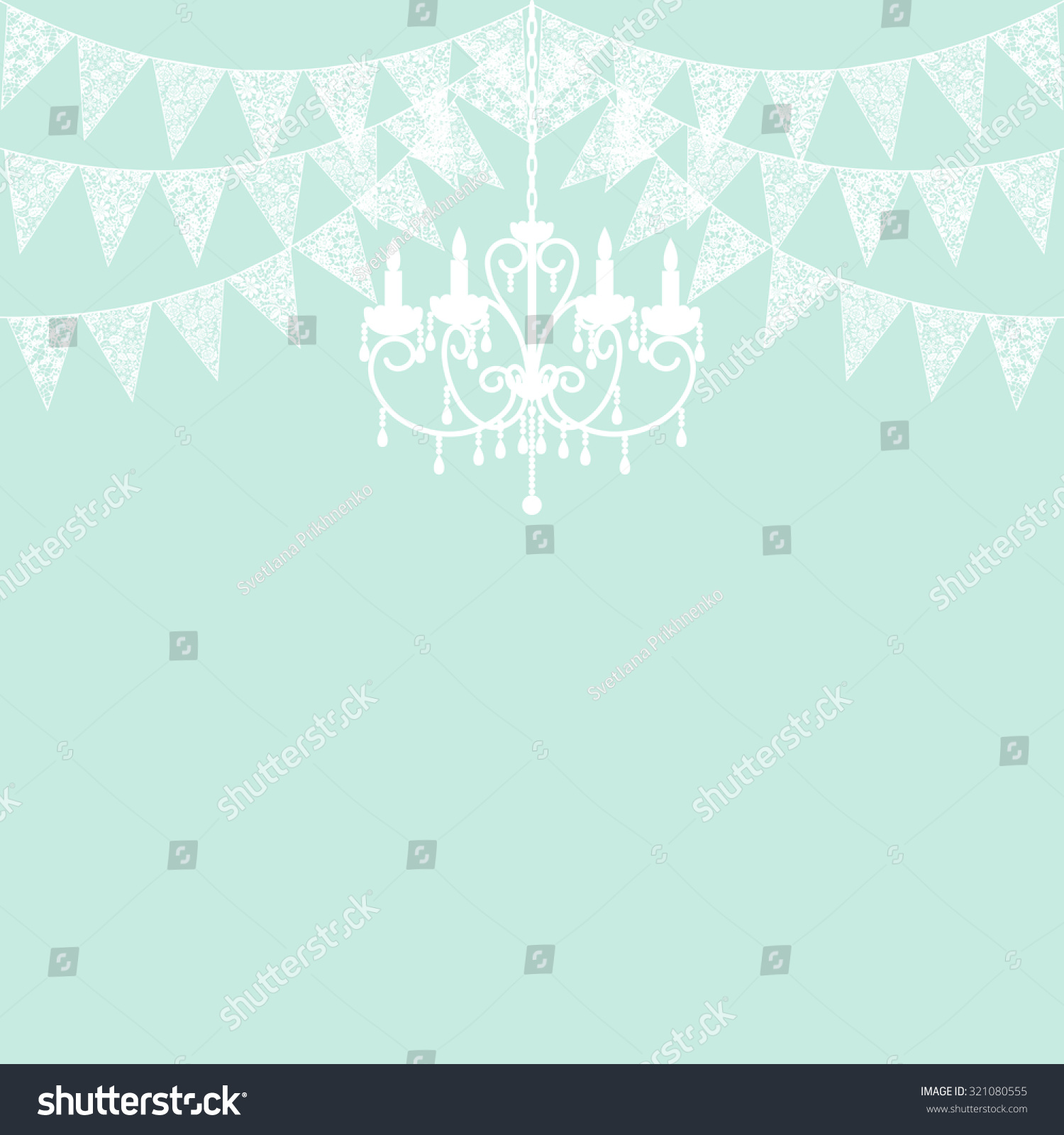 Wedding invitation card template white lace stock vector 321080555 wedding invitation card template with white lace bunting and chandelier on green background arubaitofo Image collections