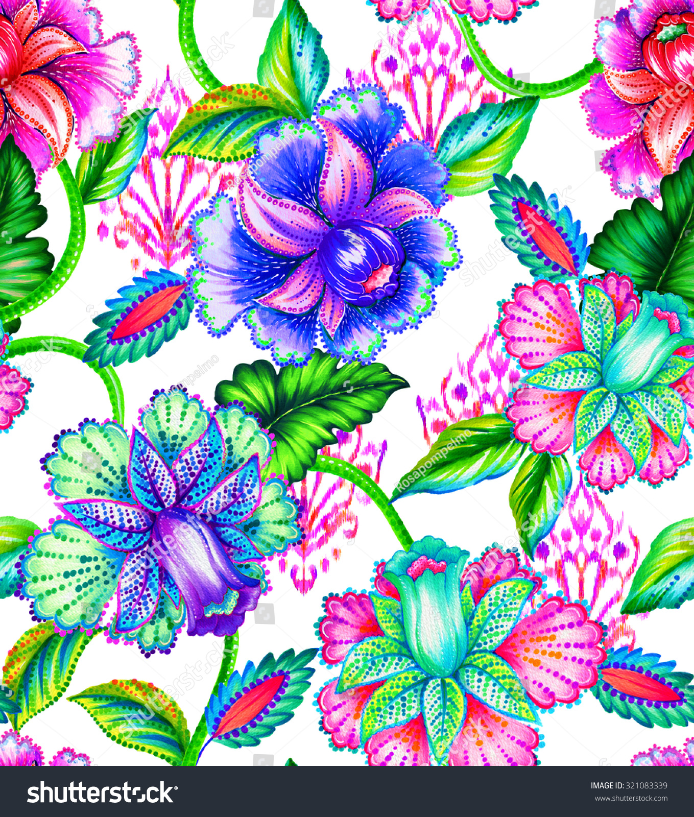 Seamless Folk Flowers Pattern Boho Natural Stock Illustration ...