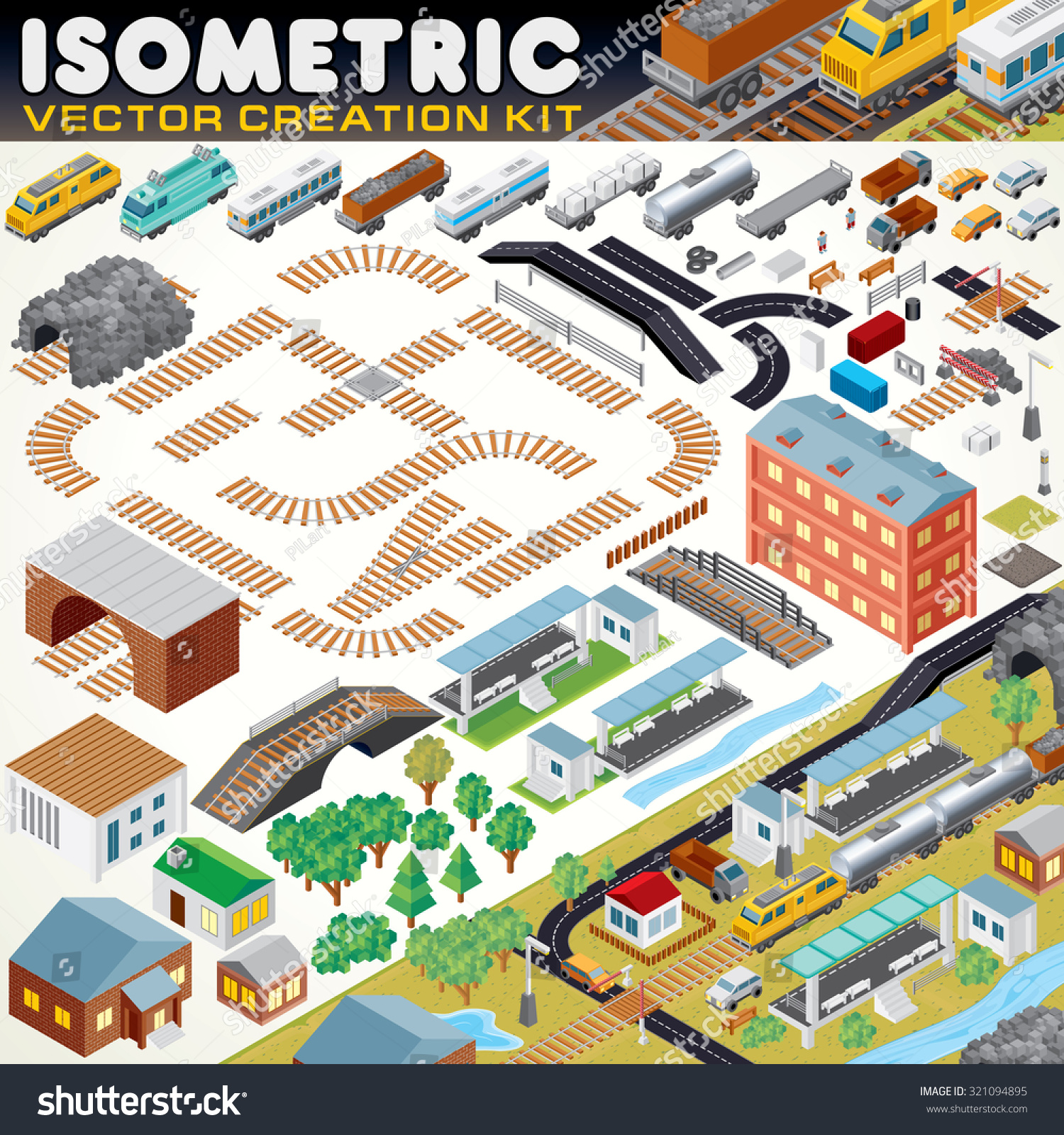 3d isometric city map kit vector stock vector 321094895 for 3d building creator