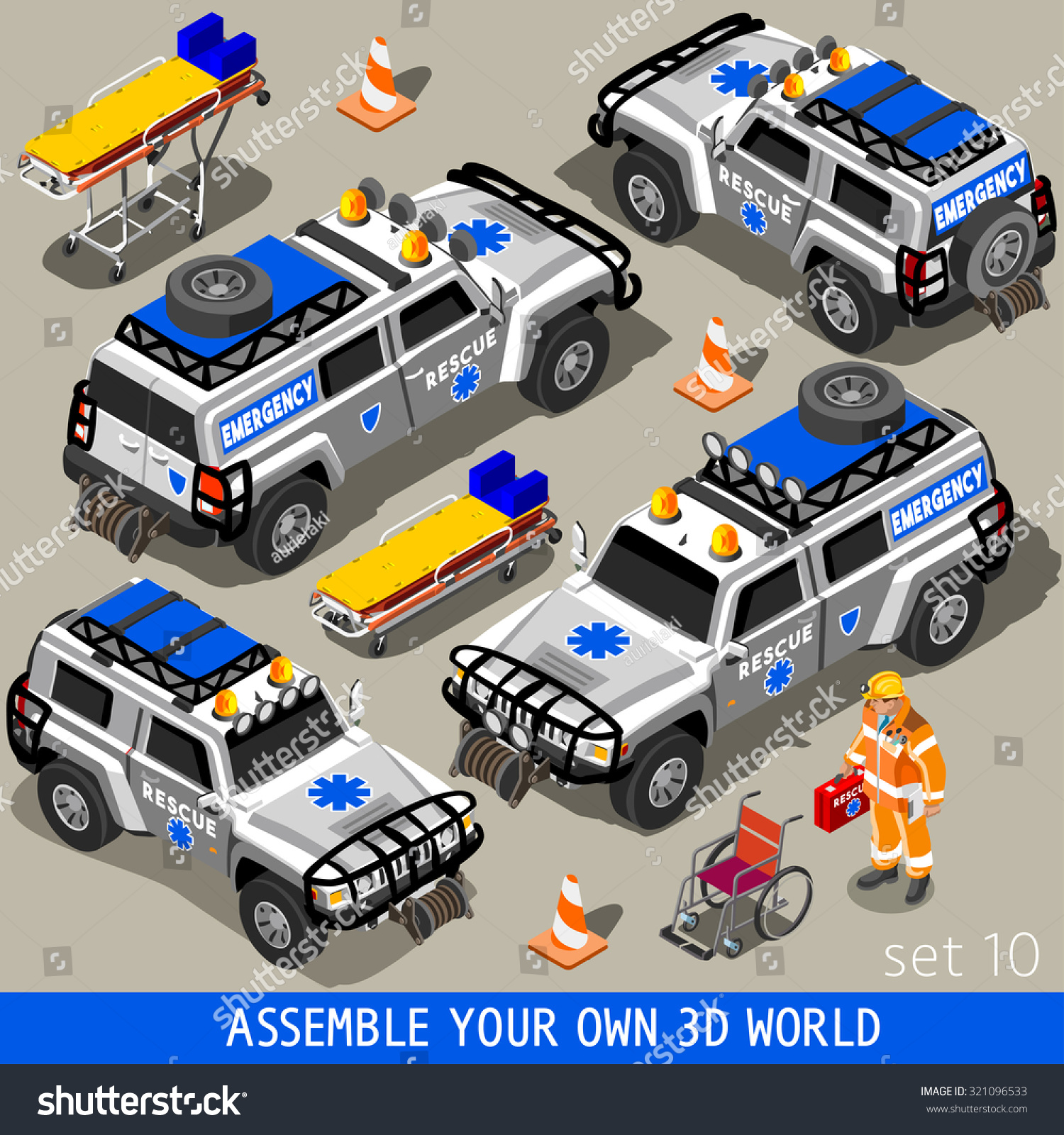 Ambulance White Rescue SUV Vehicle palette 3D Flat Vector Icon Set First Aid Equipment and Paramedic Man Assemble your Own 3D World JPG JPEG Image Drawing Object Picture Graphic Art EPS 10 AI