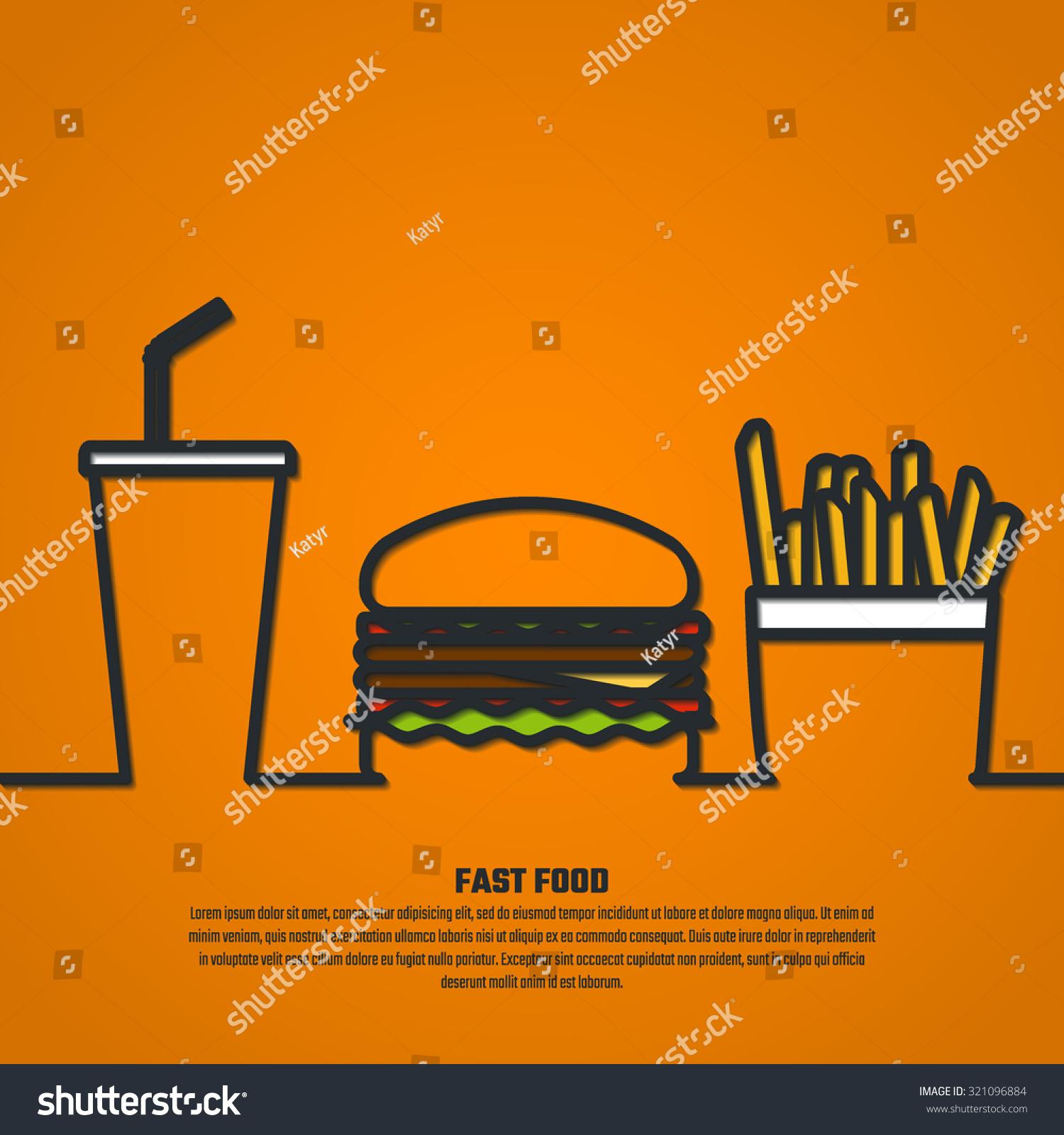 Vector Illustration Outline Fast Food Design Website Stock Vector