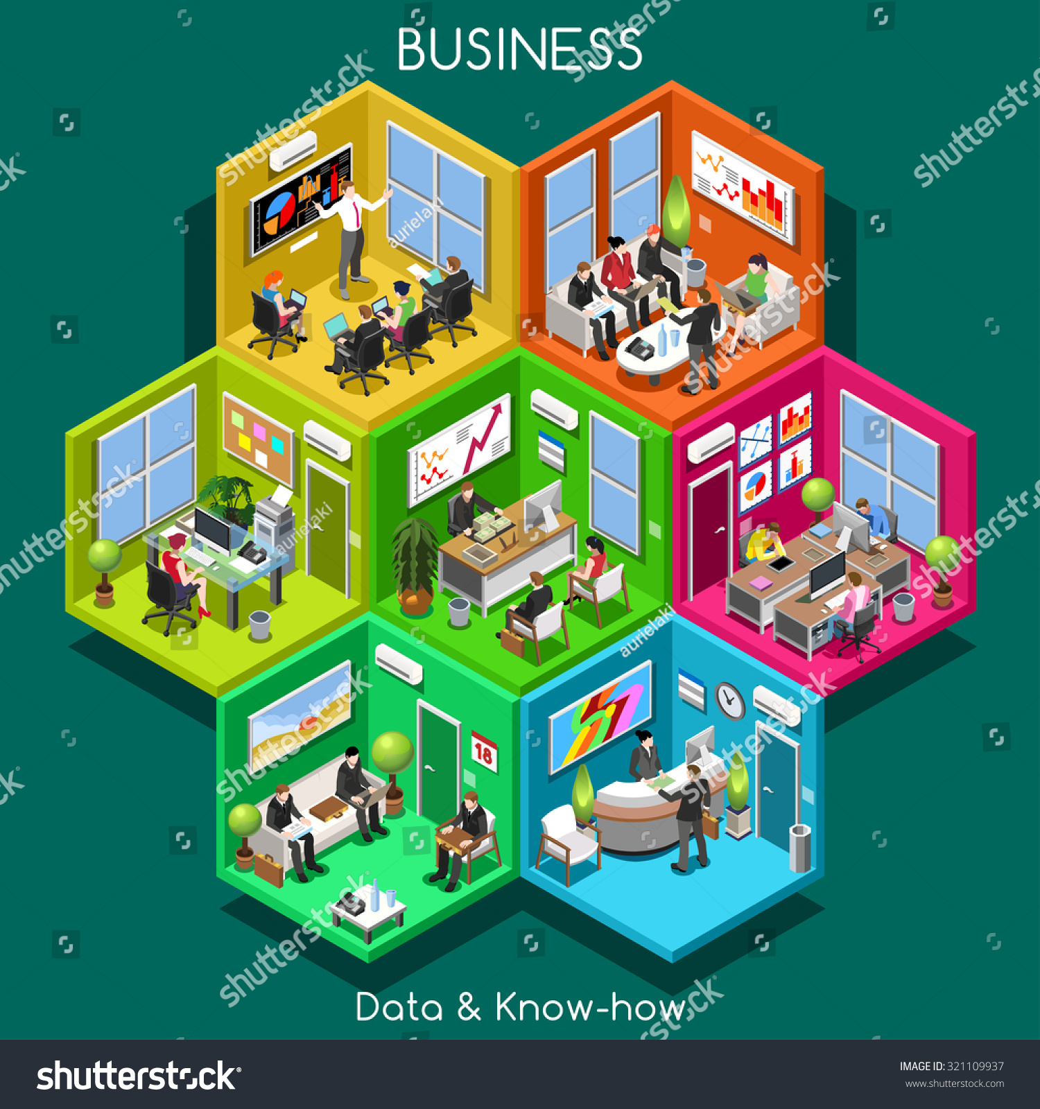 abstract business office and departments interacting people isometric realistic poses palette. Black Bedroom Furniture Sets. Home Design Ideas