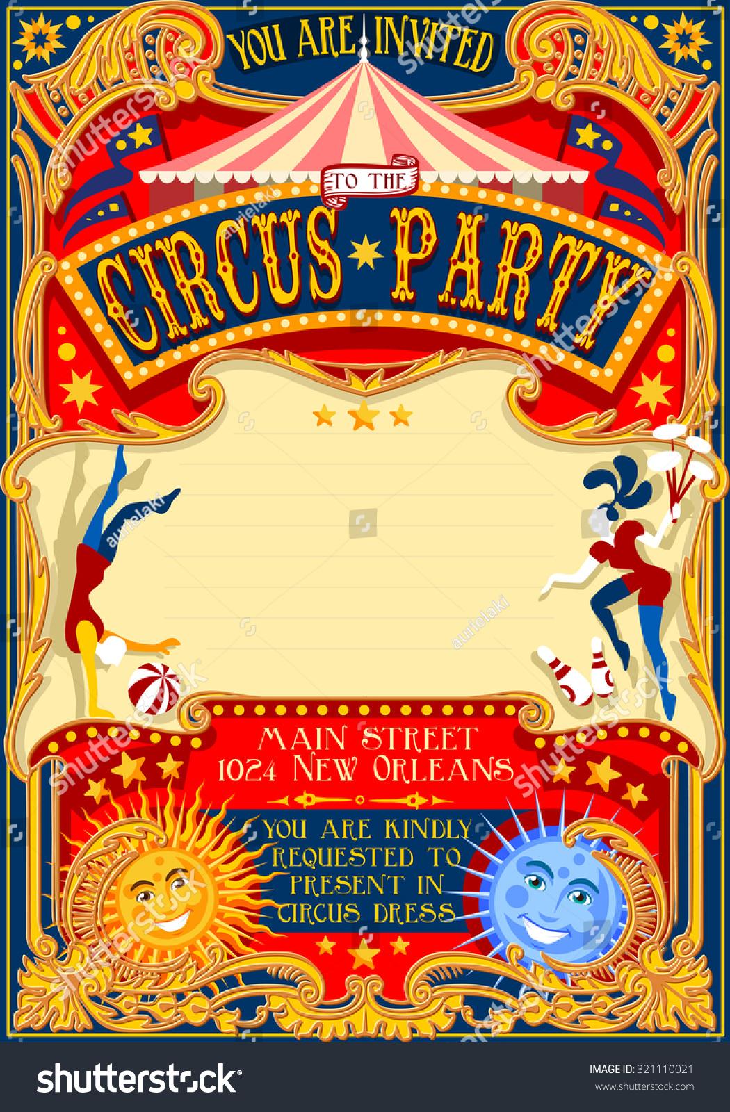 Circus juggler show Retro Template. Cartoon Poster Invitation. Kids ...
