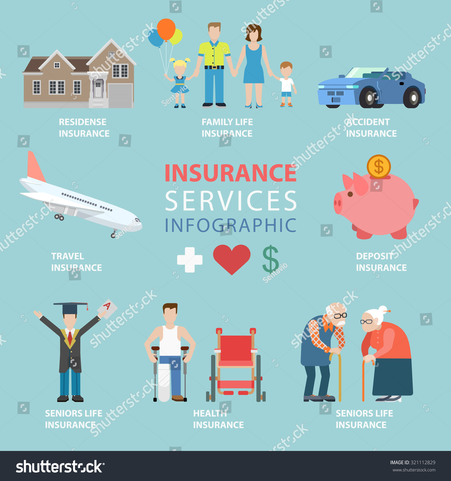 Flat Style Insurance Services Thematic Infographics Stock ...