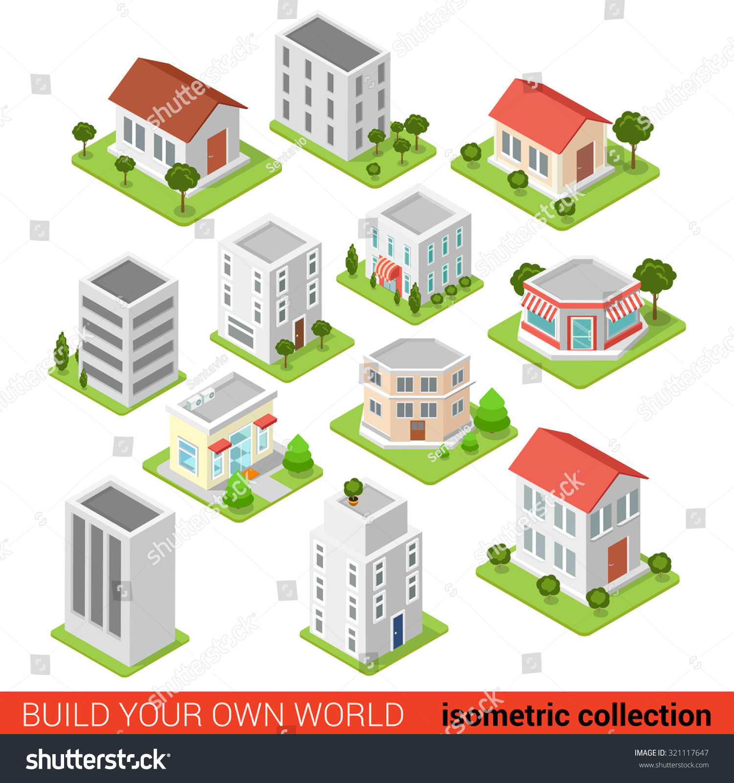 Flat 3d isometric building block small stock vector - Create your world ...
