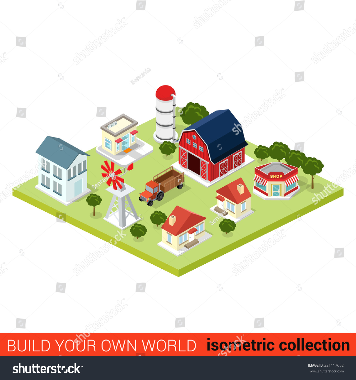 Flat 3d isometric set countryside infographic stock vector for Build your own 3d house