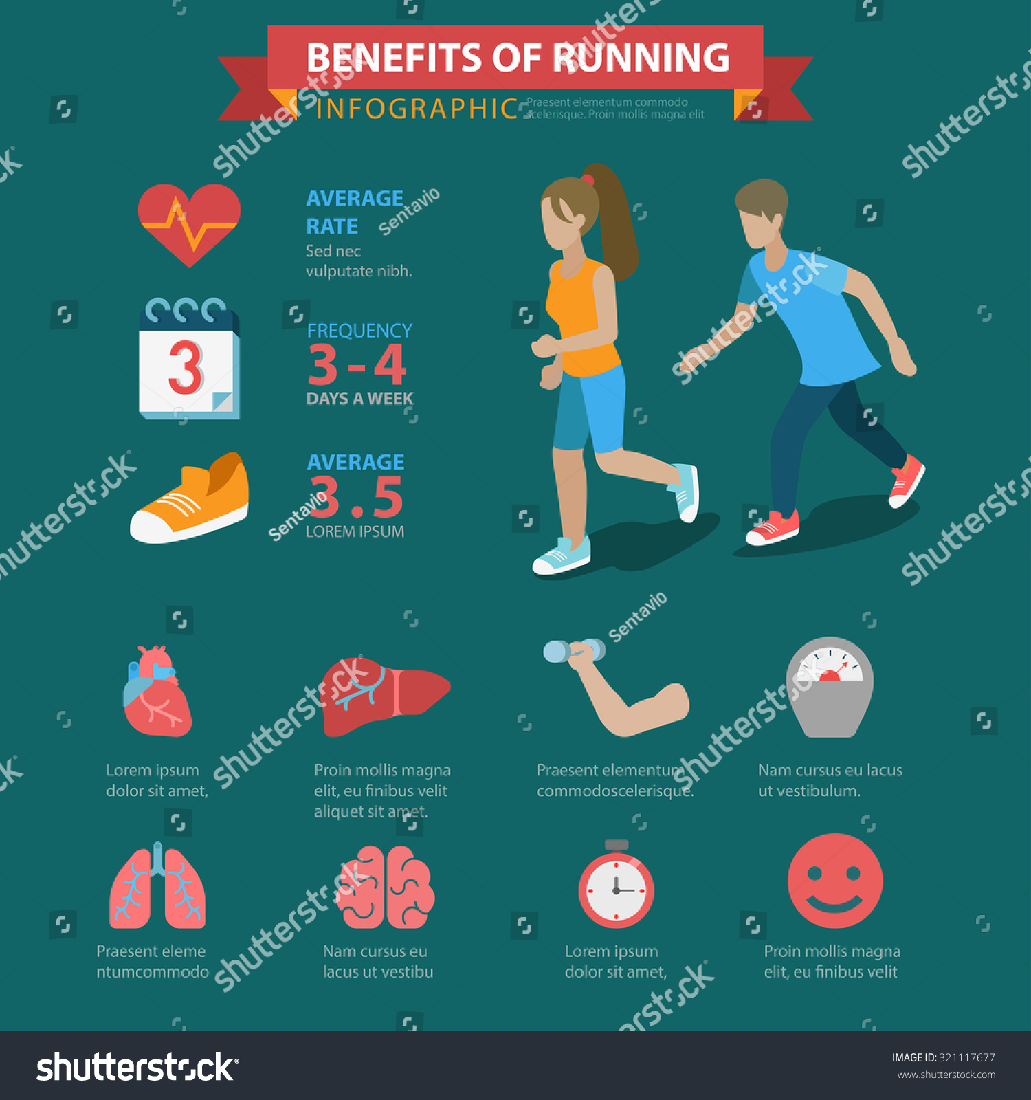 Running Benefits Flat Style Thematic Infographics Stock