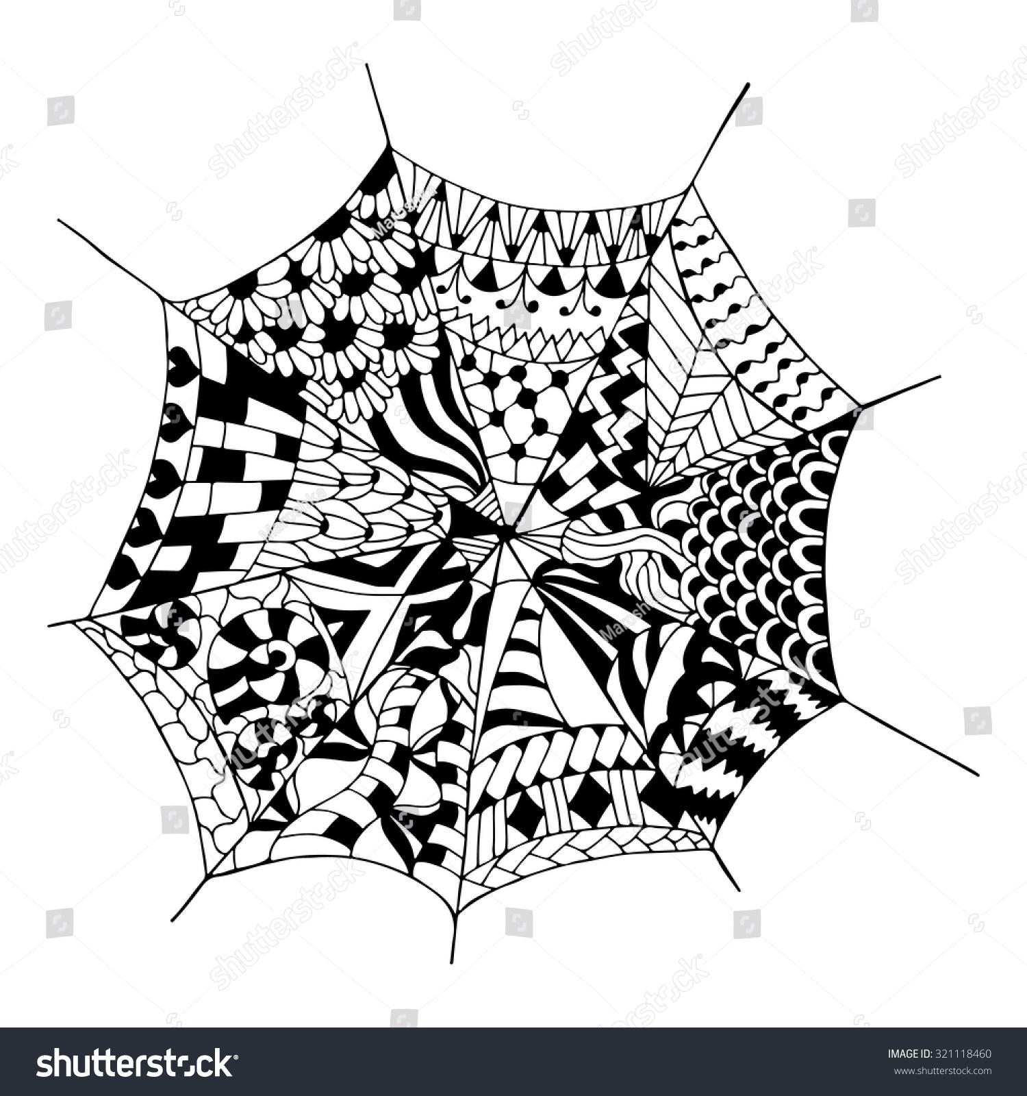 Hand Drawn Spider Web Anti Stress Stock Vector 321118460 - Shutterstock