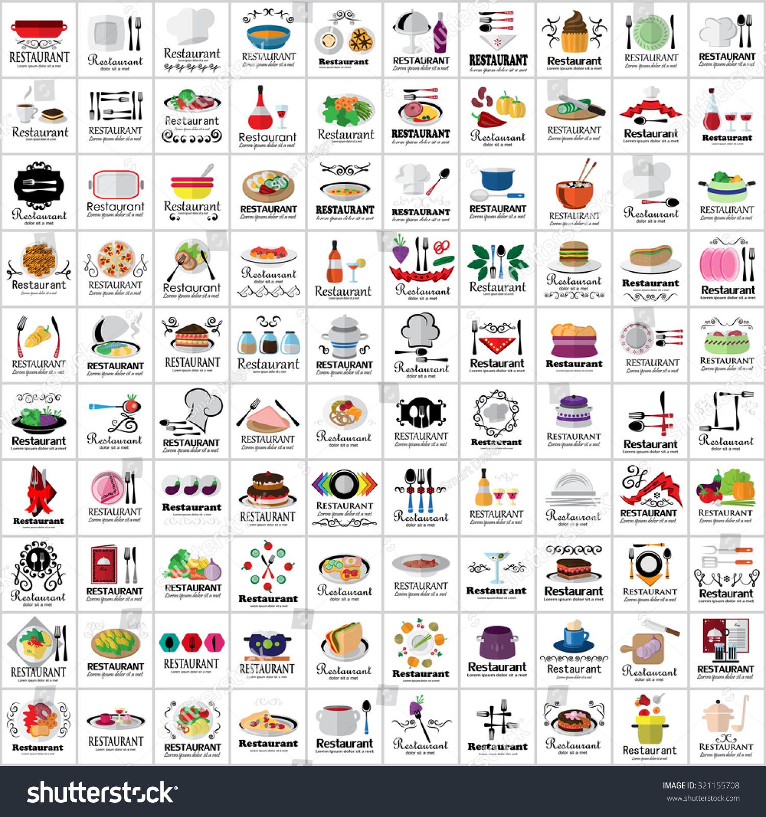 Restaurant flat icons set vector illustration stock