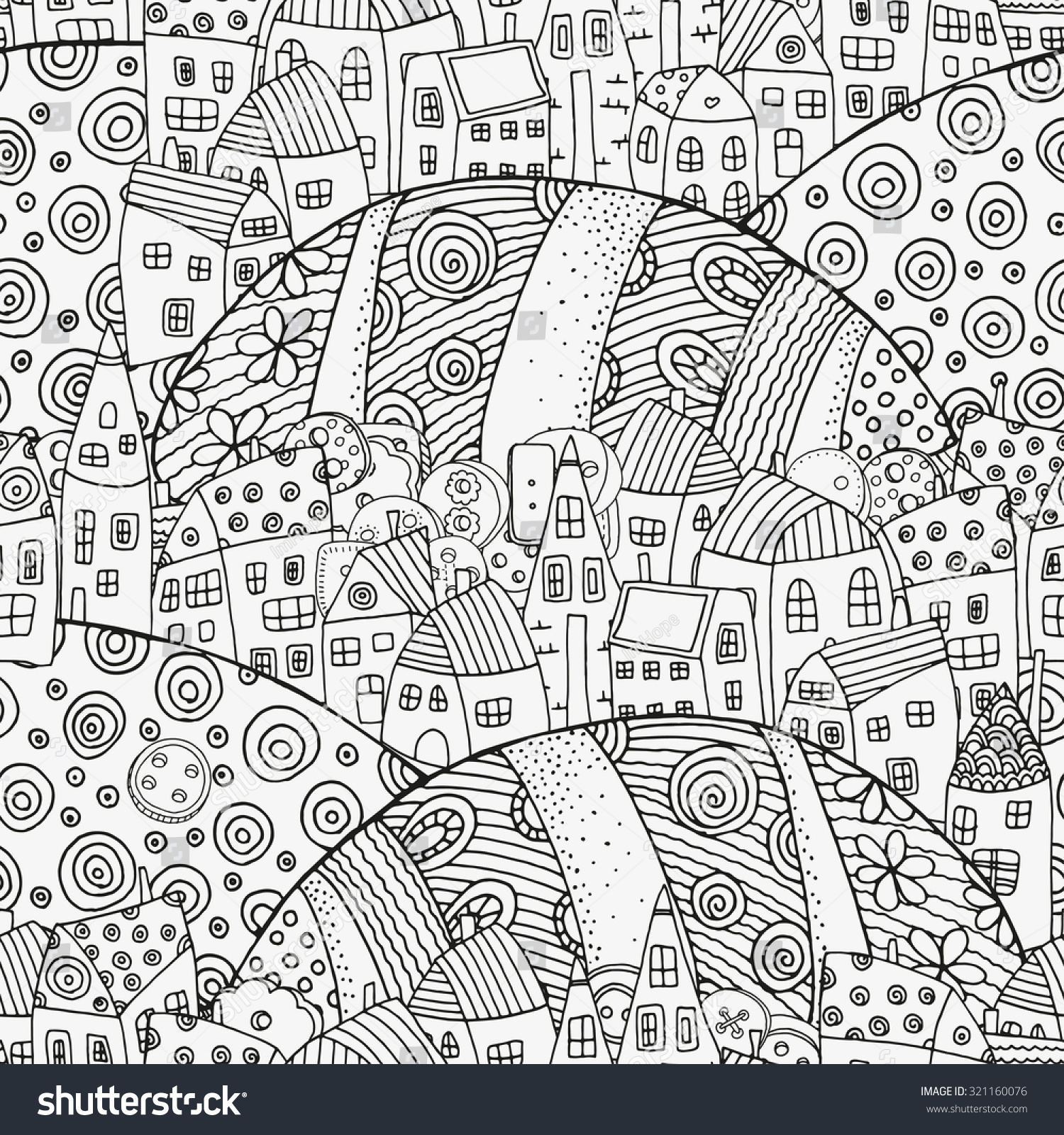 Th the magical city colouring in book - Seamless Pattern With Artistically Houses Magic City Fields Landscape Pattern For Coloring