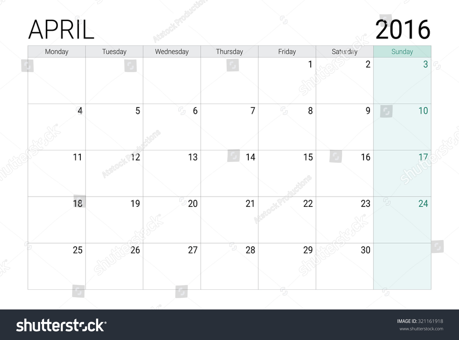 Calendar April Vector : April calendar or desk planner stock vector