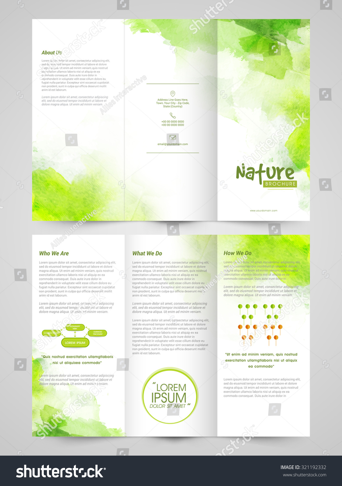 creative ecological trifold brochure template or flyer design with front and back side presentation