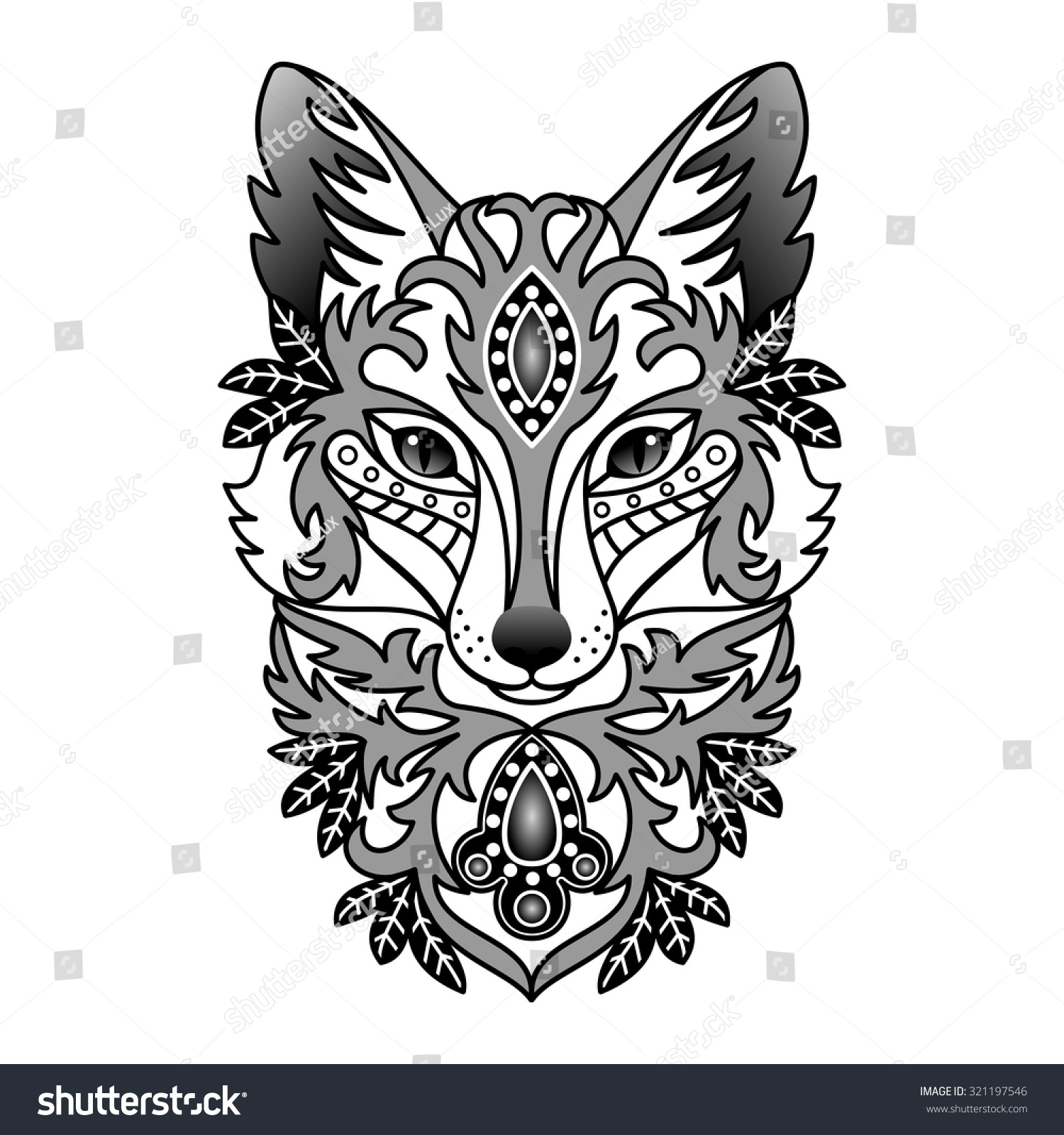 fox head clipart black and white