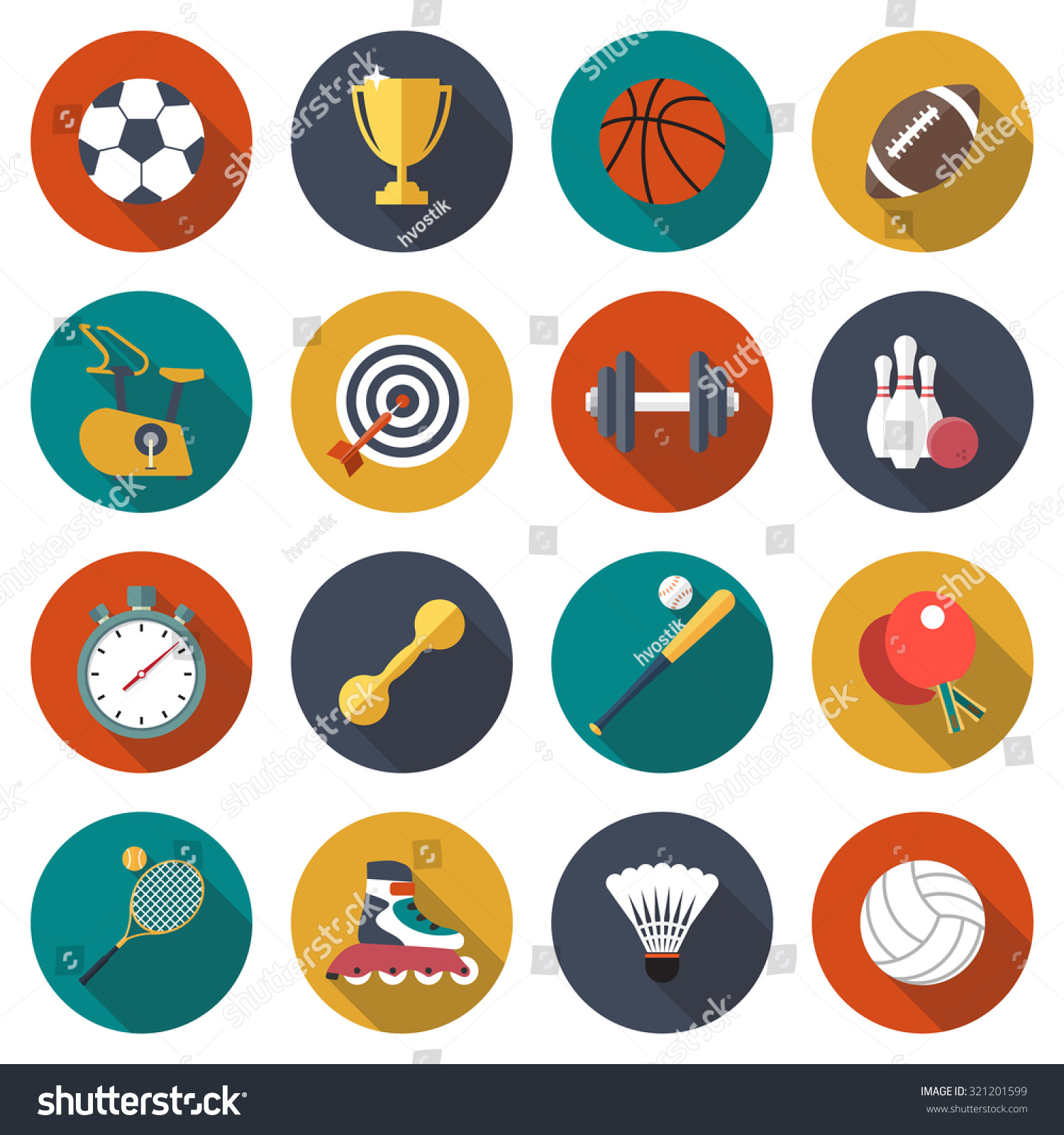 sport icons set football basketball rugby stock vector