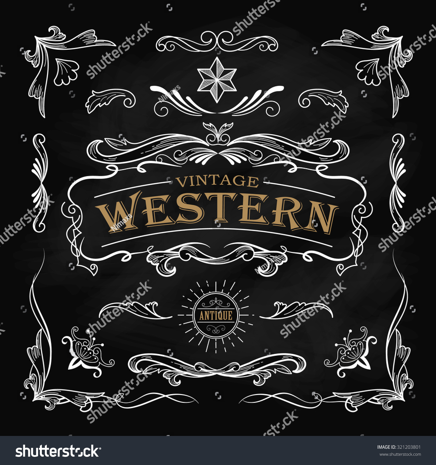Western Hand Drawn Elements Frame Label Stock Vector 321203801 ...