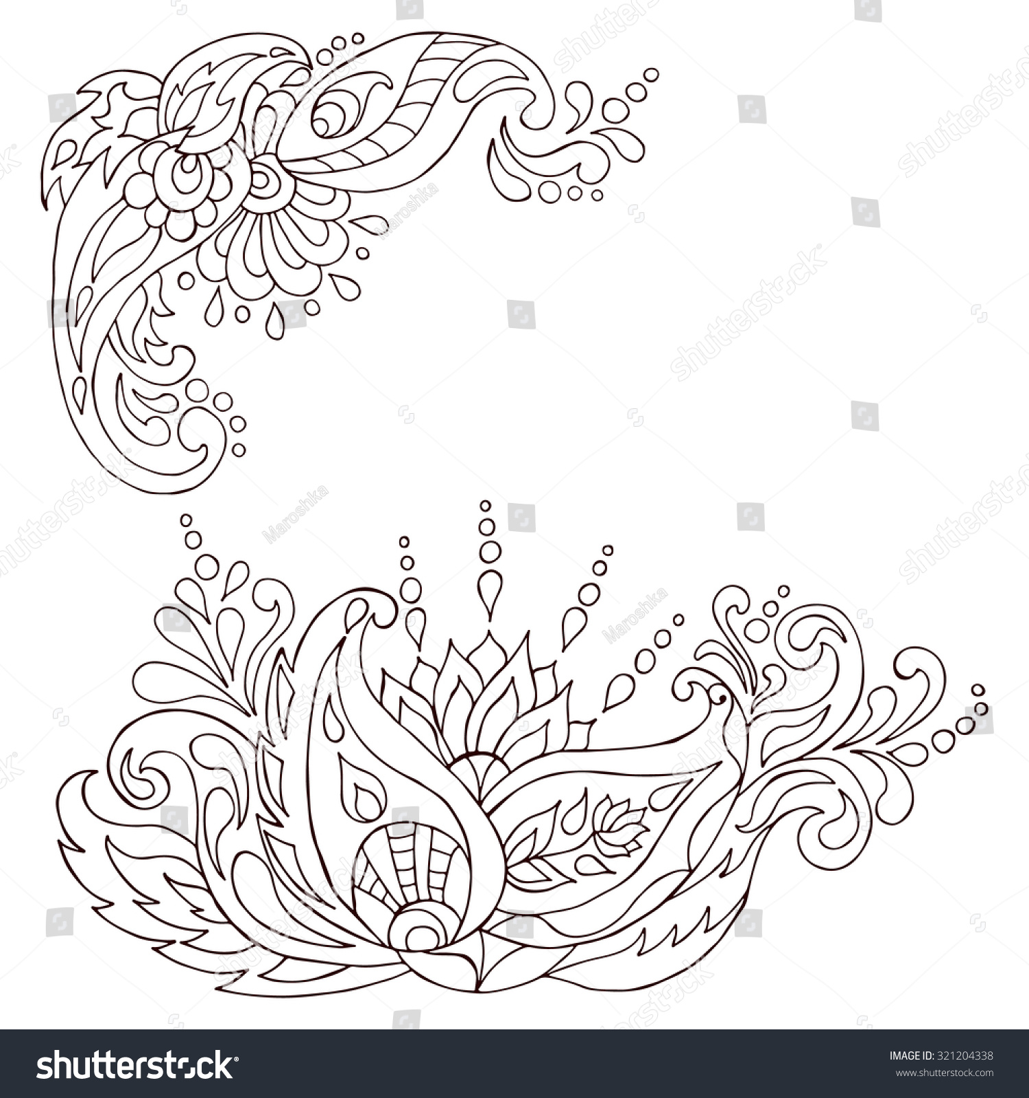 Coloring pages of mehndi hand pattern - Henna Tattoo Doodle Vector Elements Mehndi Design For Hands Indian Persian And Turkish