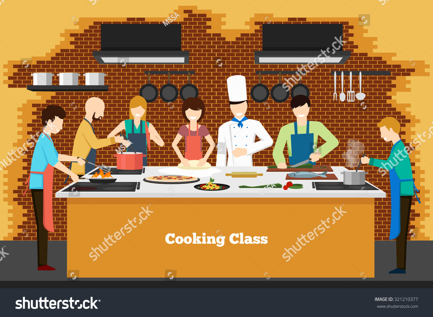 stock vector cooking class in kitchen learning people teaching and culinary vector illustration 321210377