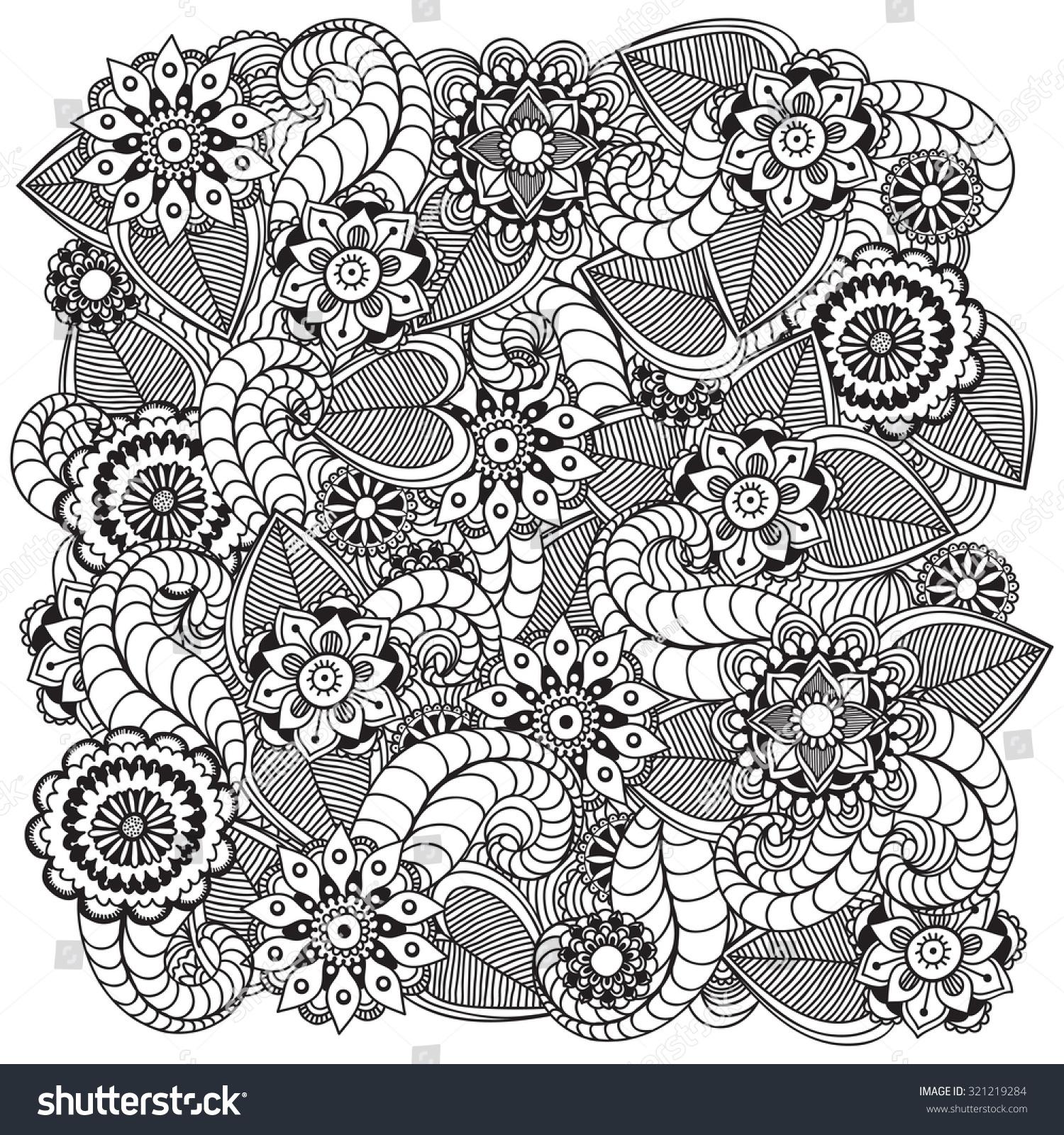 Beautiful Doodle Art Flowers Zentangle Floral Stock Vector