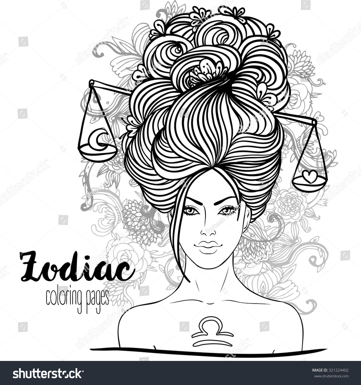 zodiac illustration libra zodiac sign beautiful stock vector