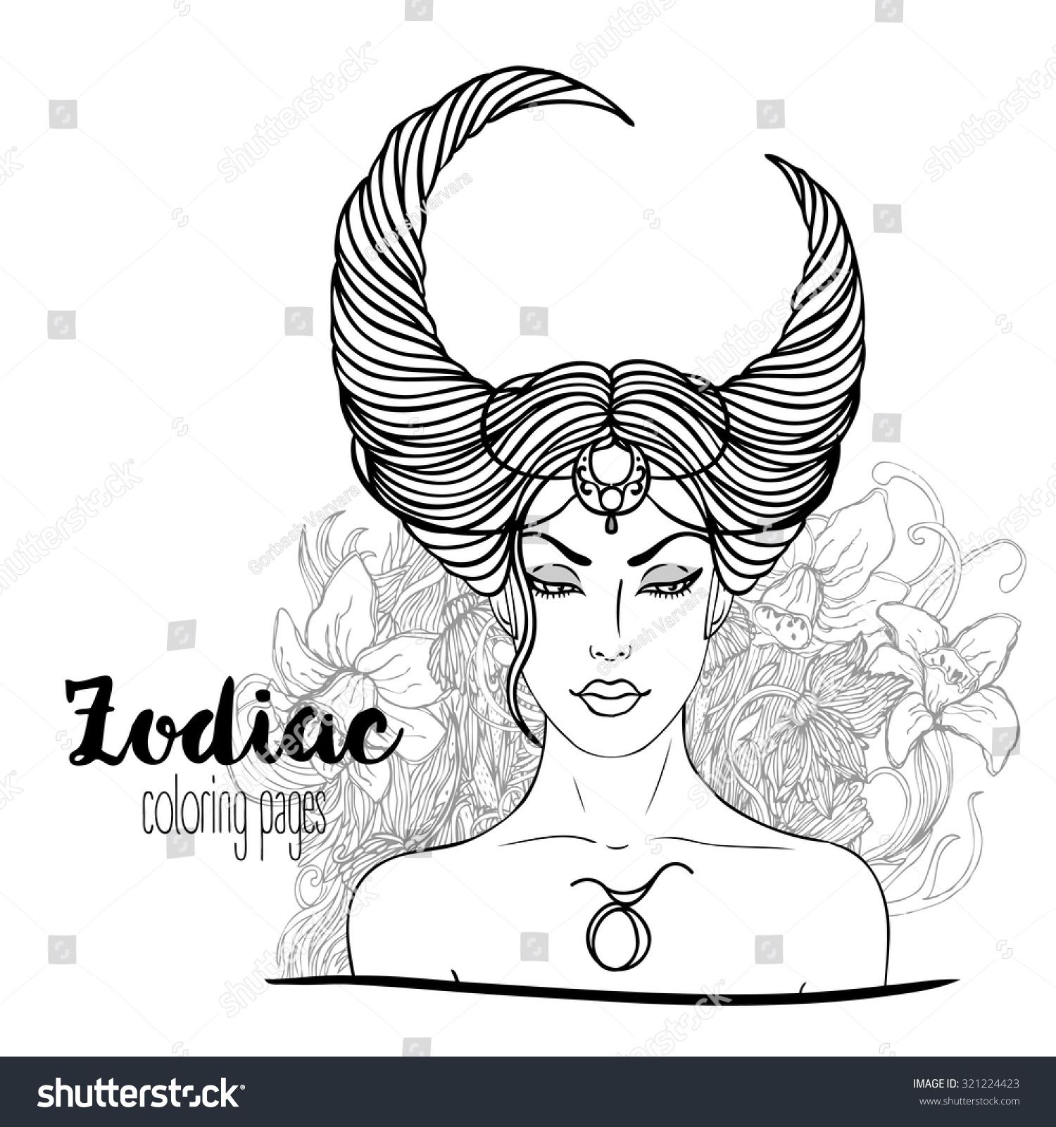zodiac illustration taurus zodiac sign beautiful stock vector