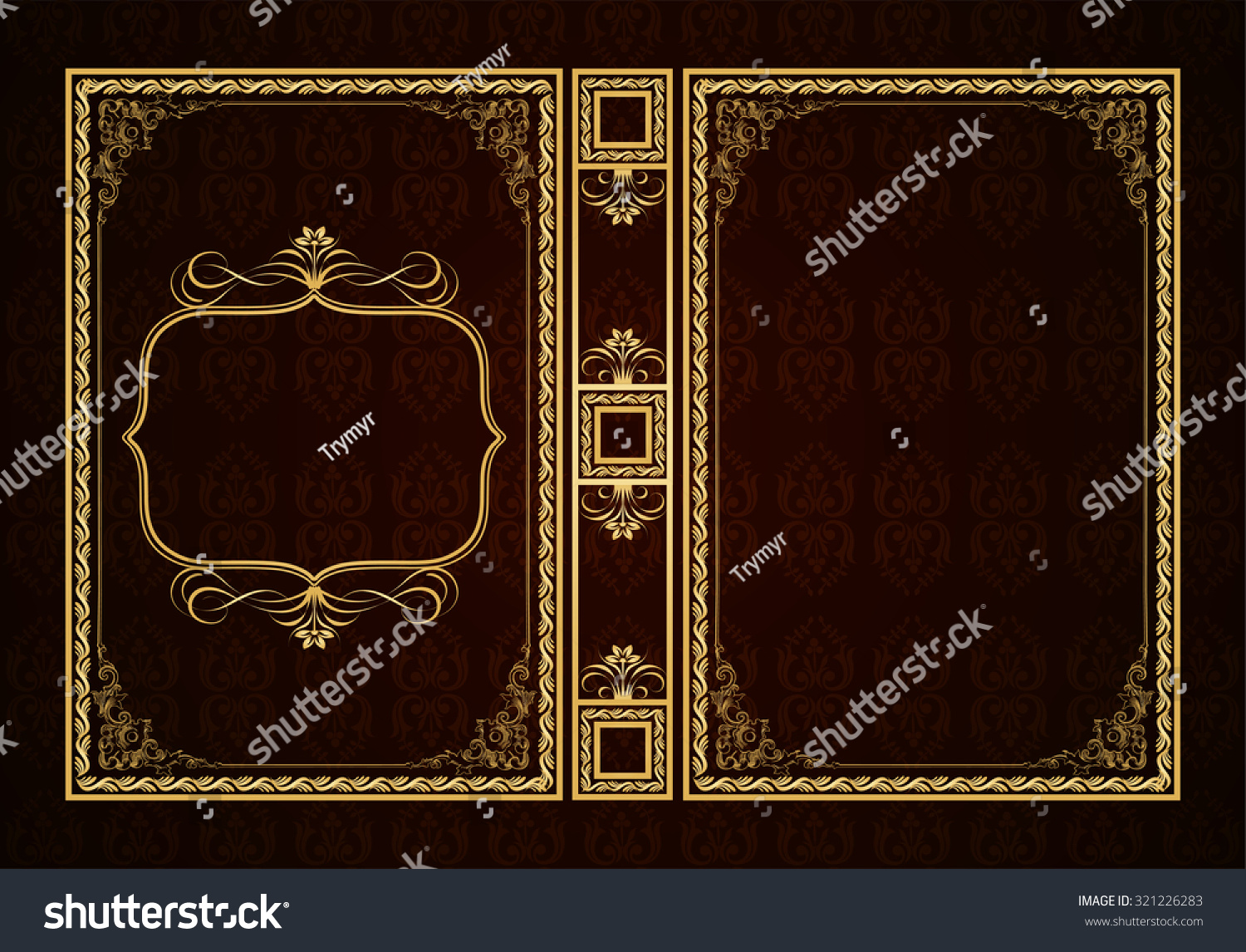 Vintage Decorative Book Cover : Vector classical book cover decorative vintage frame or