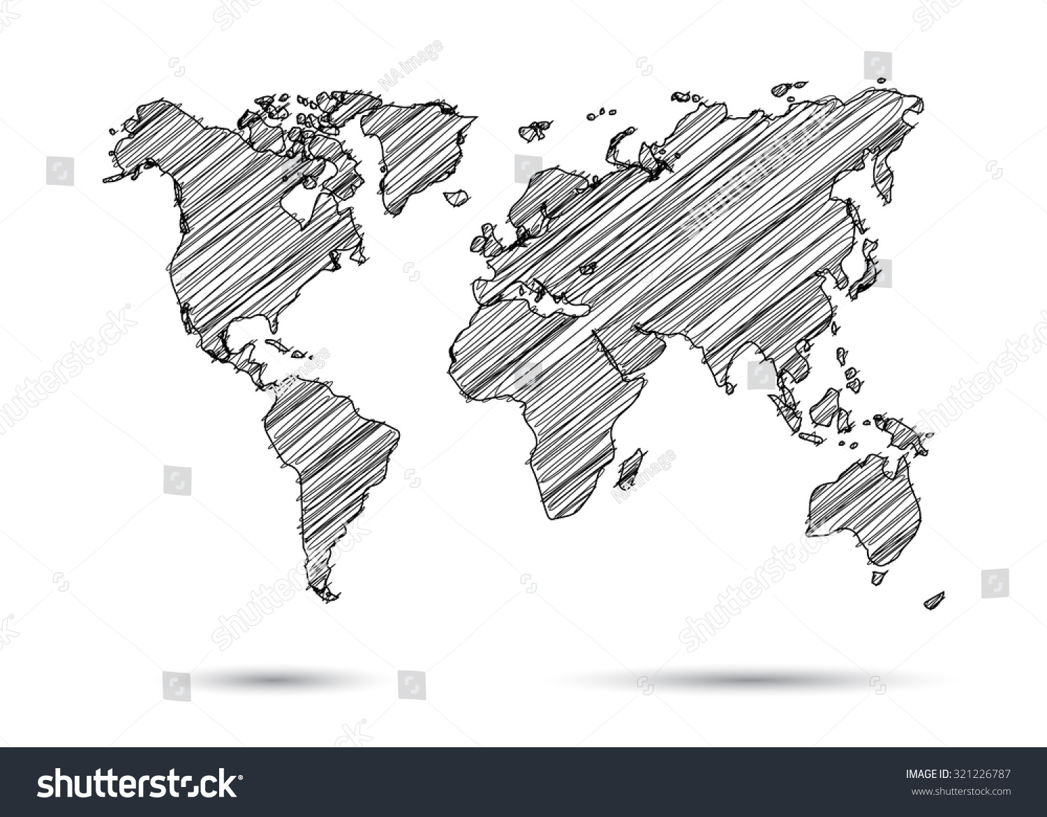 World Map Hand Draw Stock Vector (Royalty Free) 321226787 - Shutterstock