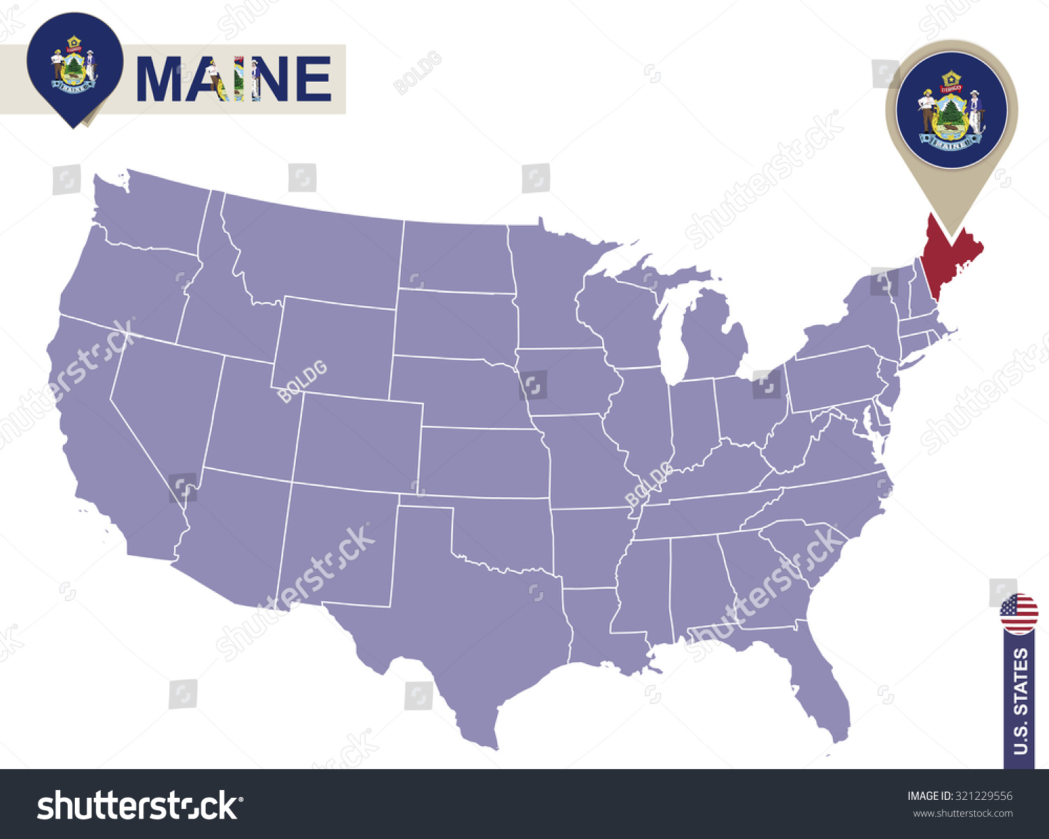 Maine State On Usa Map Maine Stock Vector 321229556 Shutterstock