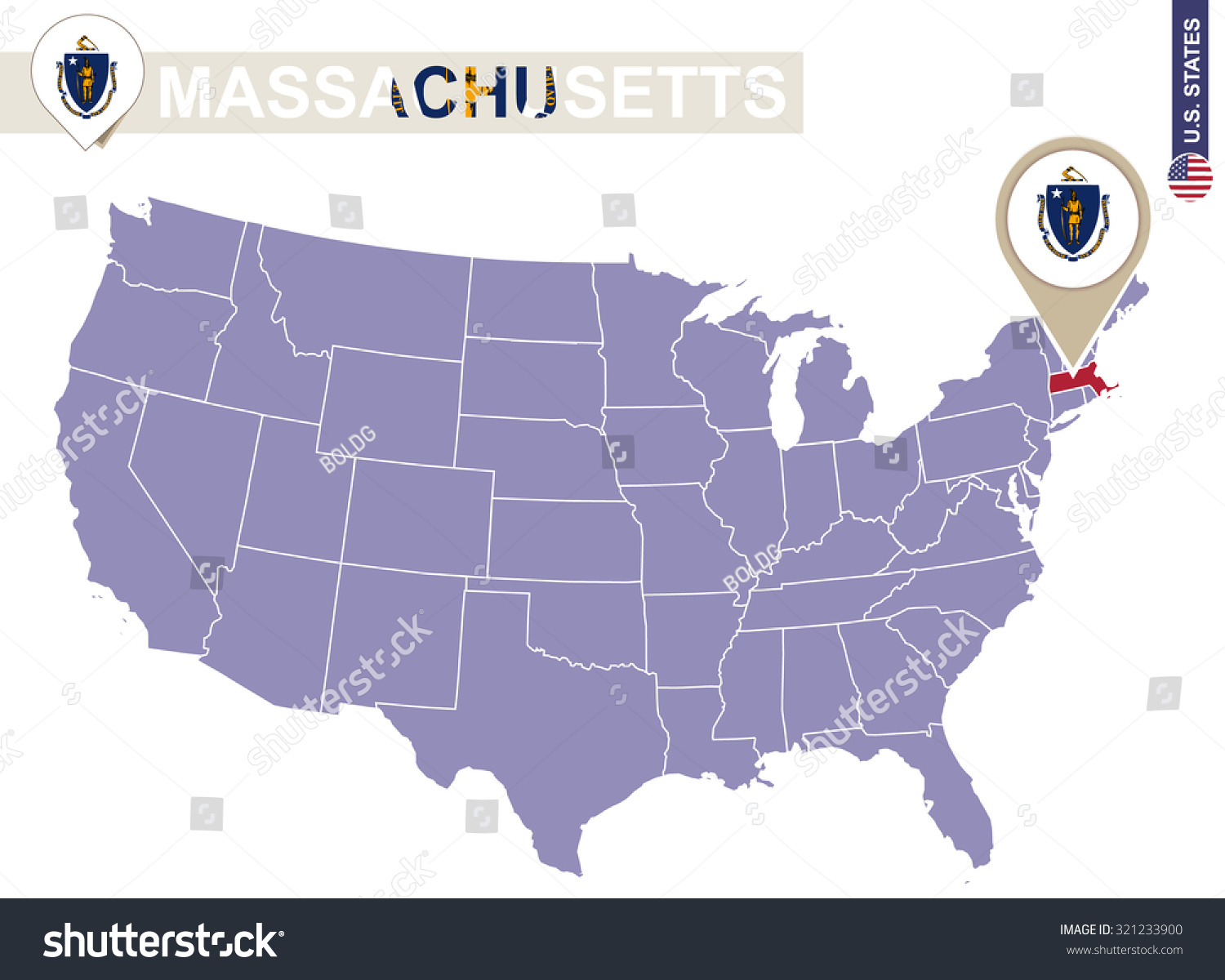 Massachusetts On The Us Map - Us map massachusetts highlighted