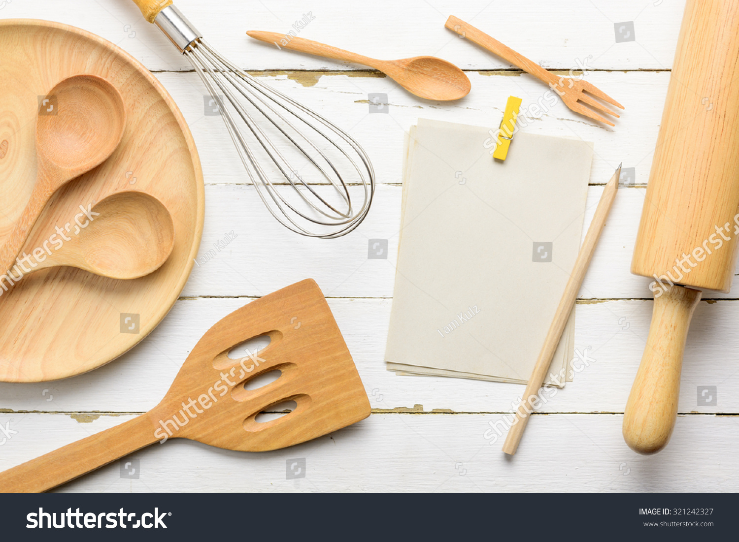Notebook Write List Menu Wooden Kitchen Stock Photo (Royalty Free ...