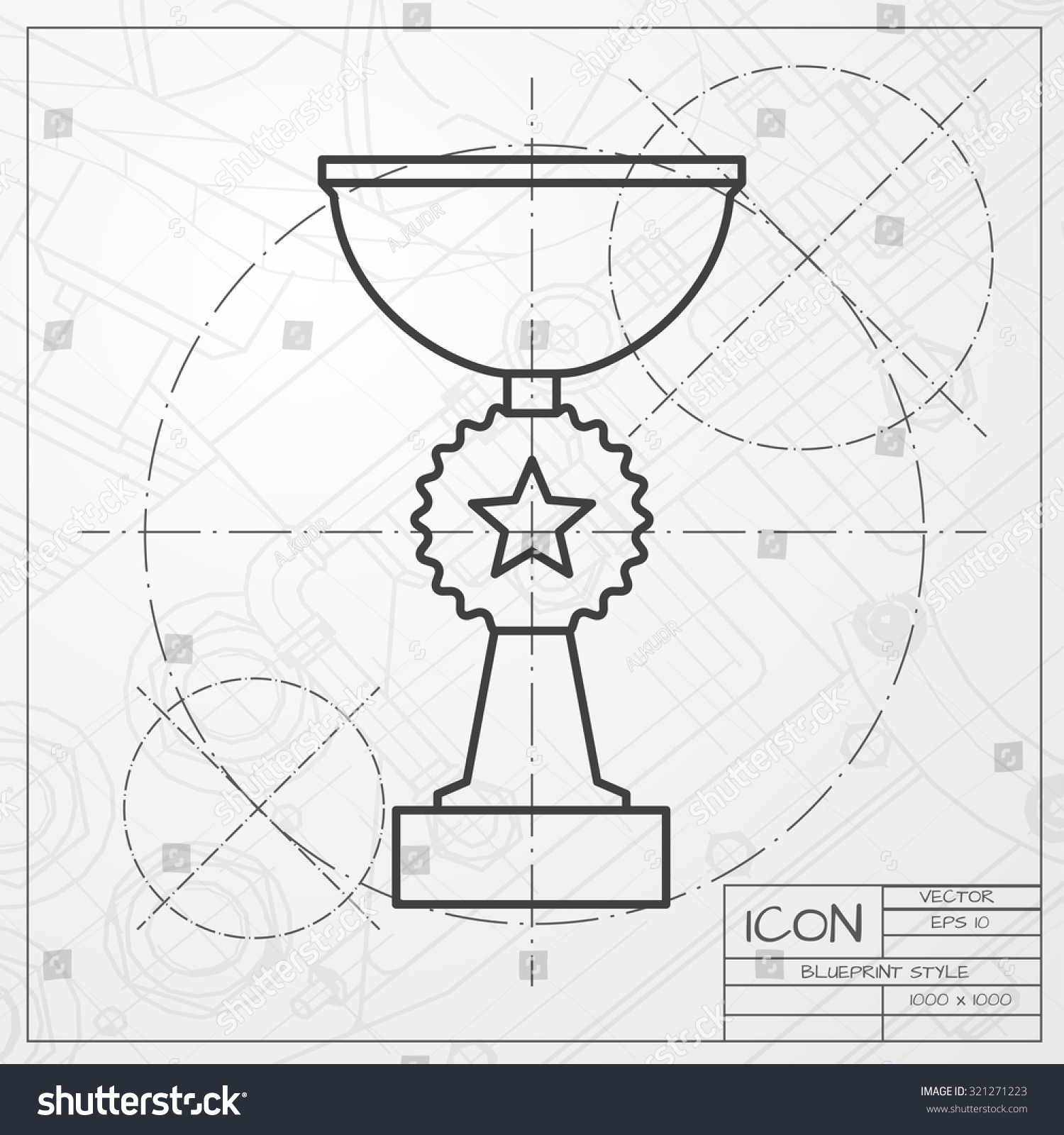 Vector classic blueprint trophy goblet icon stock vector 321271223 vector classic blueprint of trophy goblet icon on engineer and architect background winner award malvernweather Gallery