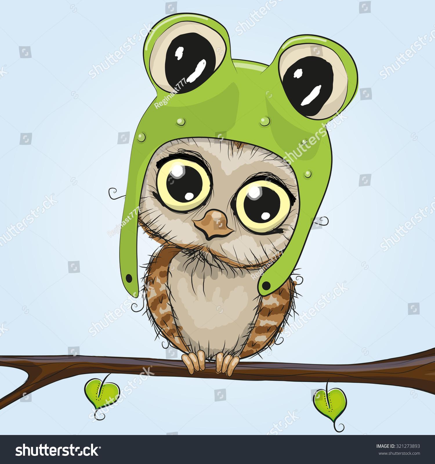Cute cartoon owls on a branch - photo#21