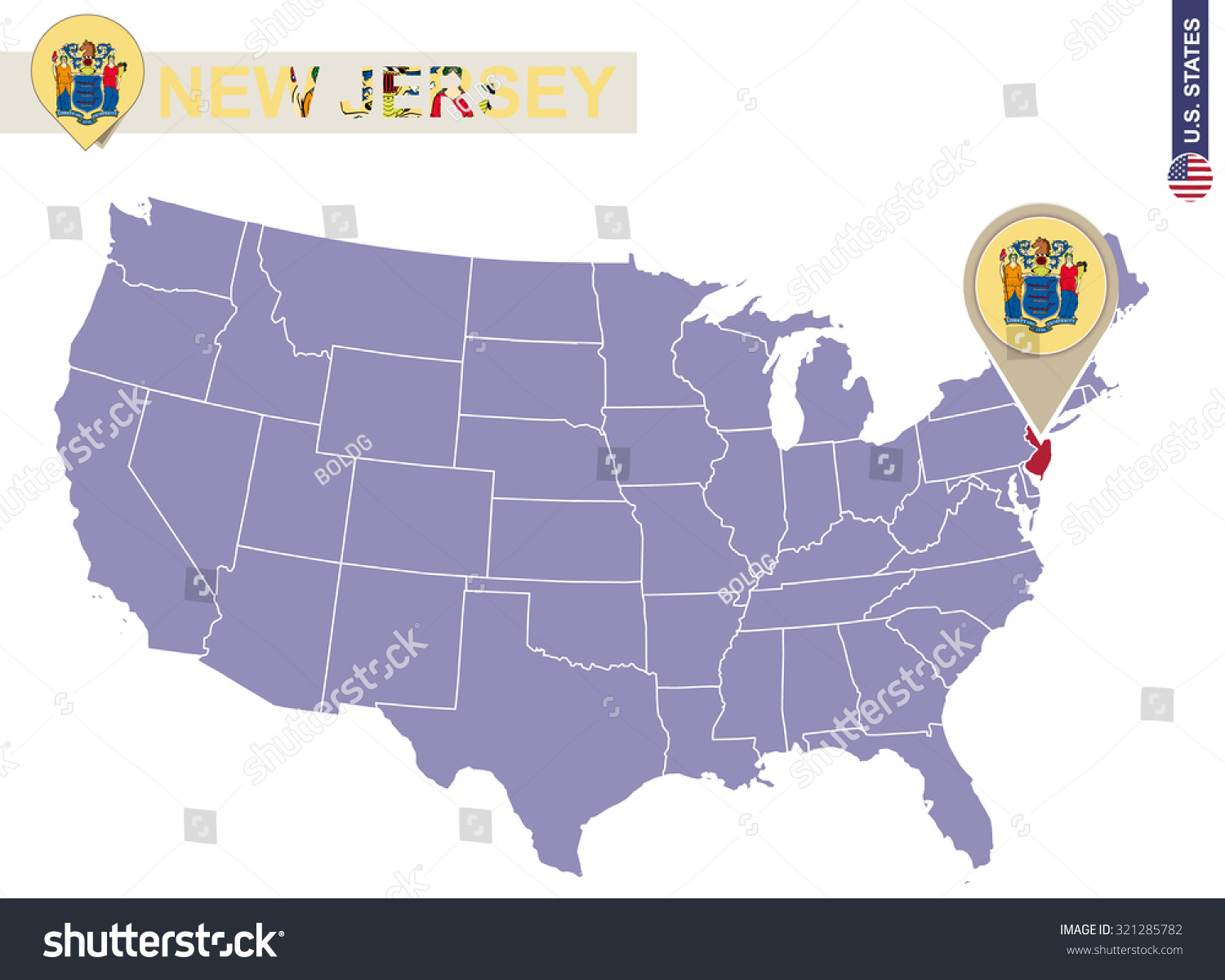 New Jersey State On Usa Map Stock Vector Shutterstock - New jersey on us map