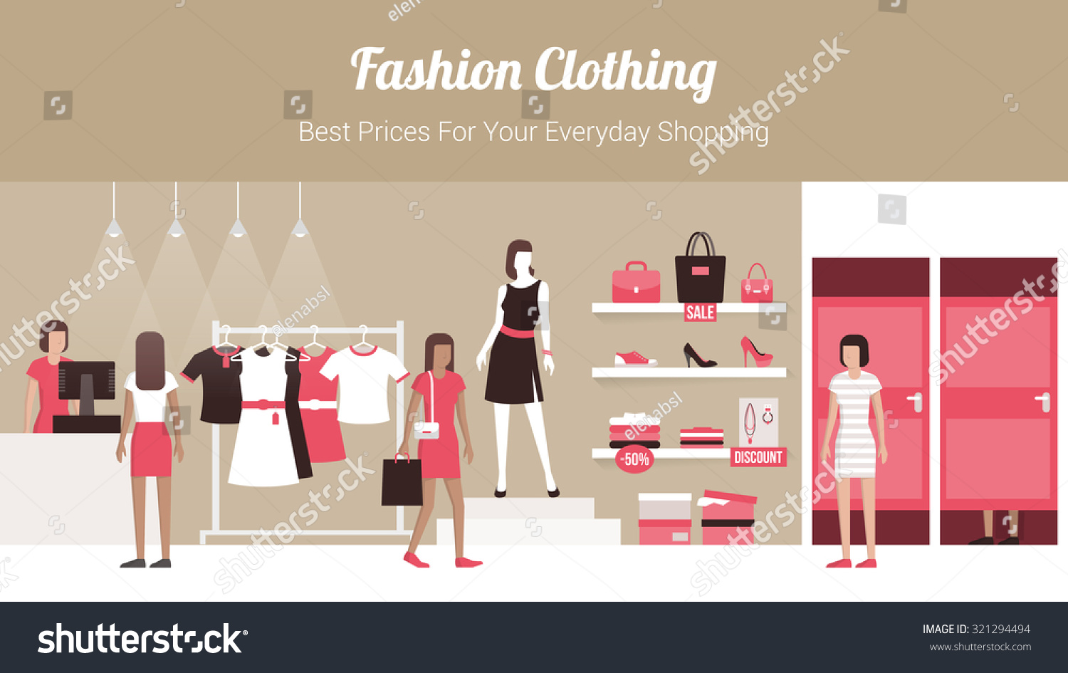Fashion Clothing Store Banner With Shop Interior, Clothing ...