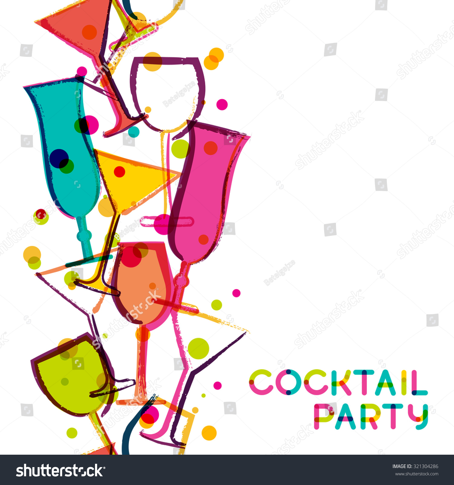 Abstract Multicolor Cocktail Glasses Watercolor Seamless Stock Vector 321304286 - Shutterstock