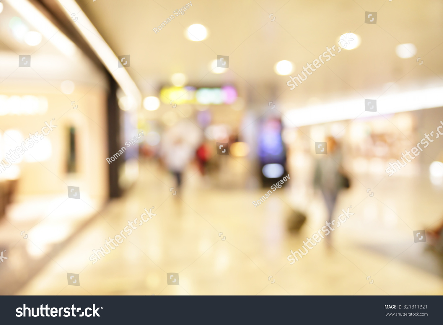 Duty free shop windows in airport defocused blured background