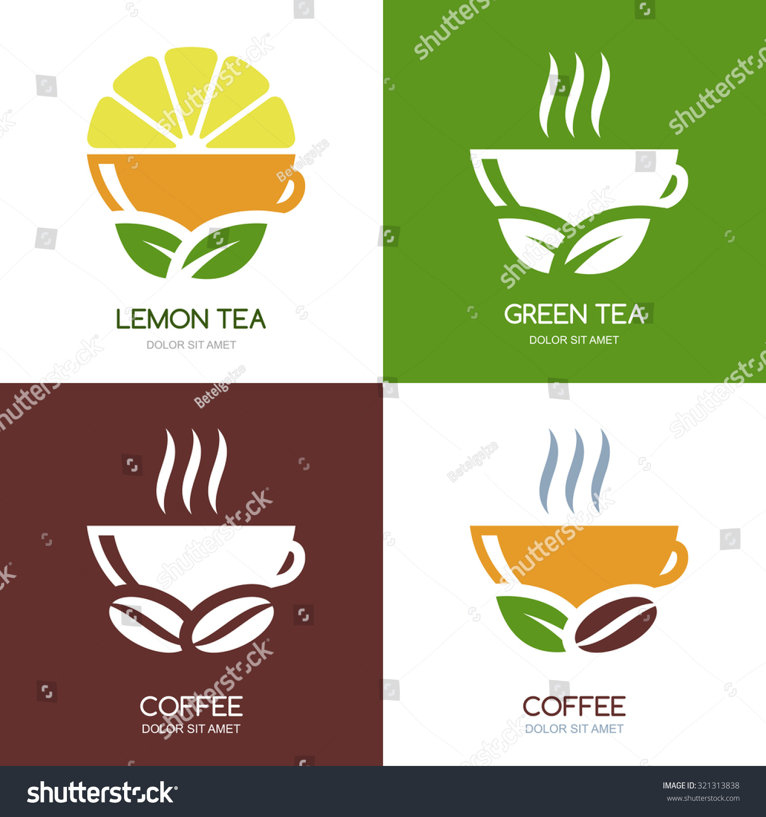 Coffee organic tea - Set Of Vector Green Tea And Hot Coffee Flat Logo Icons Abstract Concept For Bar