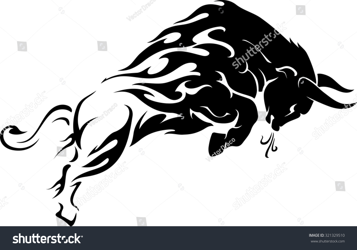Bull Flame Trail Tattoo Stock Vector 321329510 - Shutterstock