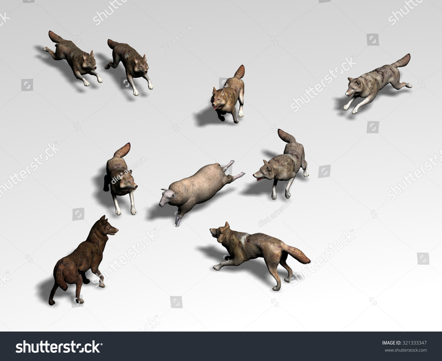 Pack Wolves Hunting Sheep Stock Illustration 321333347 ...