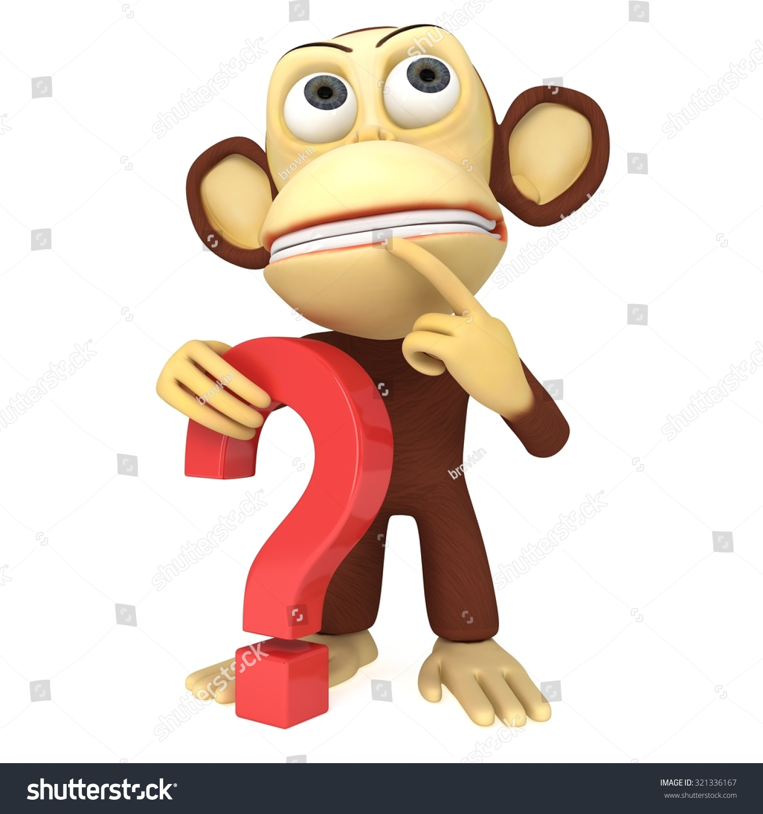 Pics photos clip art cartoon scientist with question mark stock - Stock Photo D Funny Monkey With Red Question Mark D Render Isolated On White Jpg 1500x1600