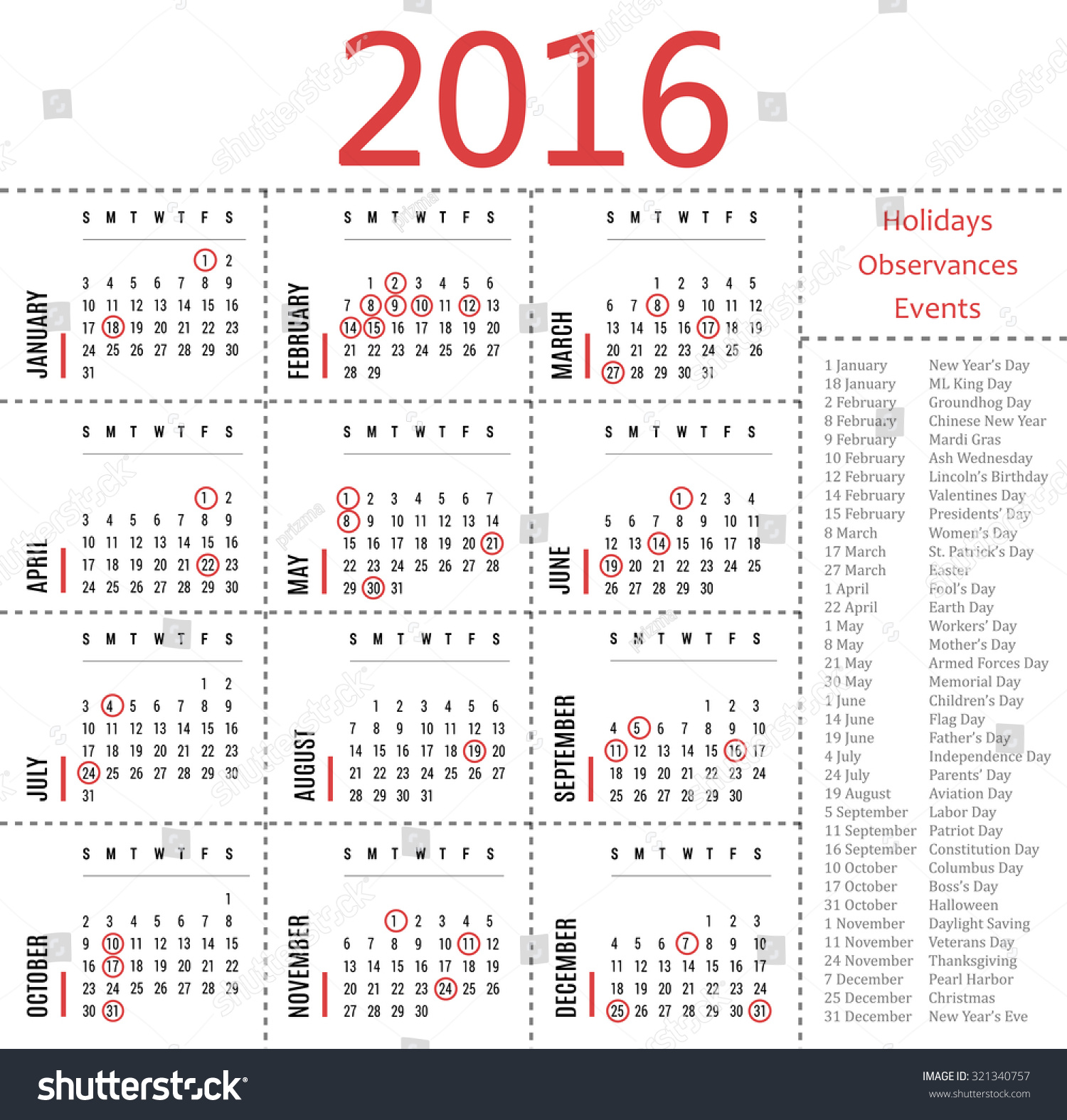 2016 Calendar Template With Holidays, Observances And Events Stock ...