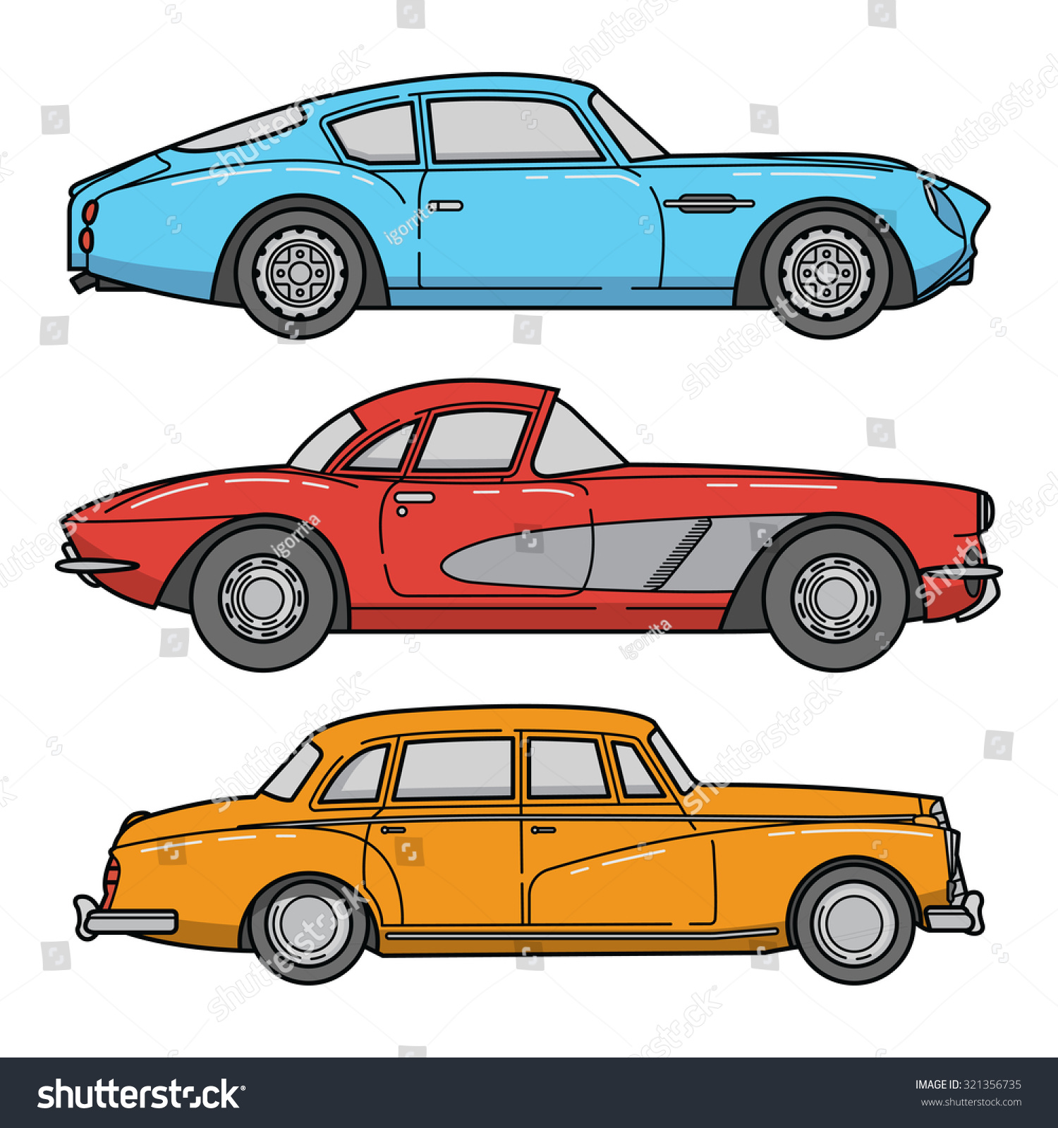 Vector Set Retro Cars Vintage Autos Stock Vector 321356735 ...