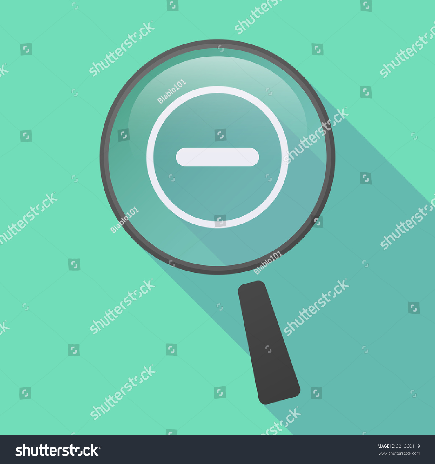 Illustration Long Shadow Magnifier Icon Subtraction Stock Vector ...